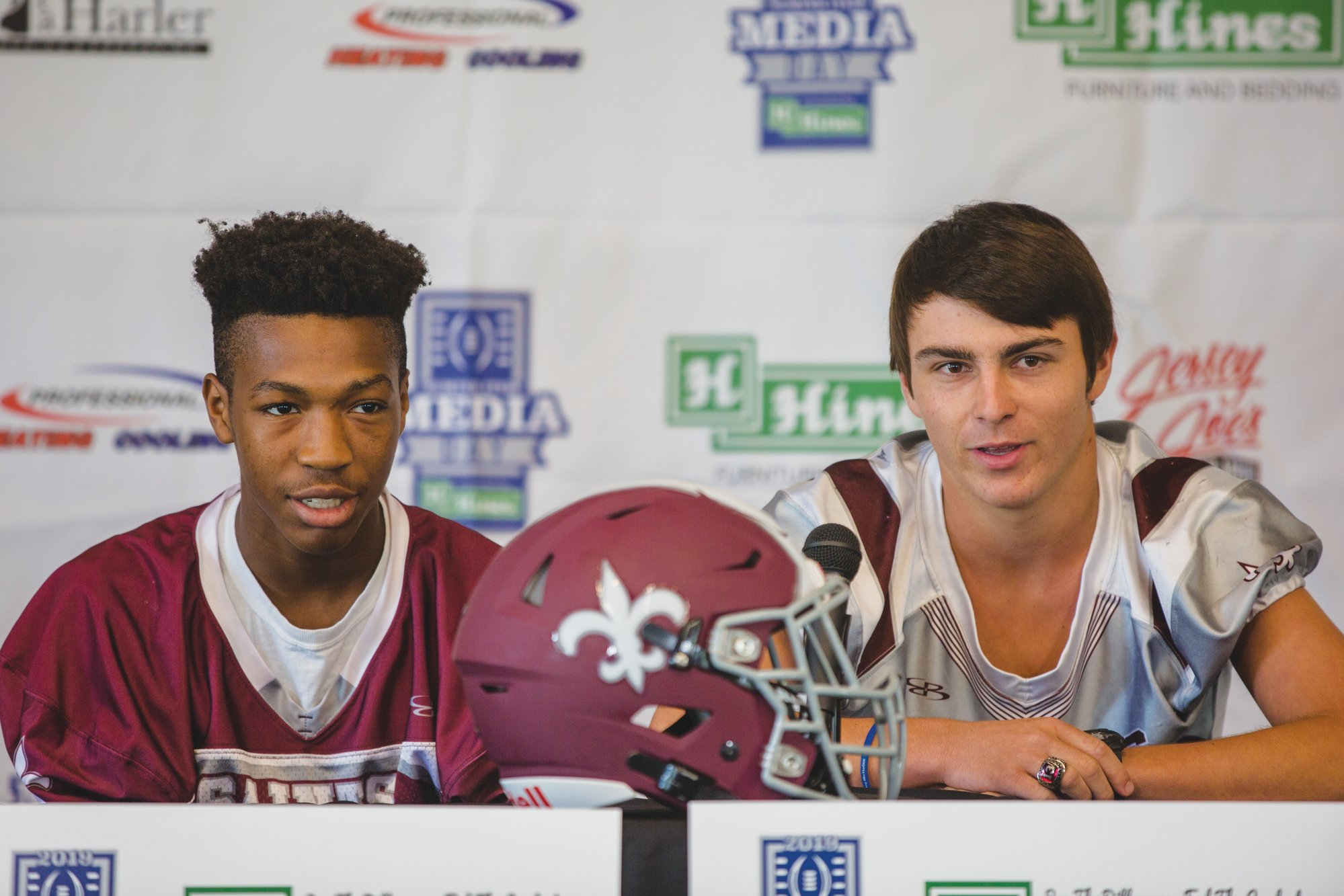Zyan Gillmore, left, and Wells Robinson of Clarendon Hall talk during the 2019 Sumter Item Media Day.