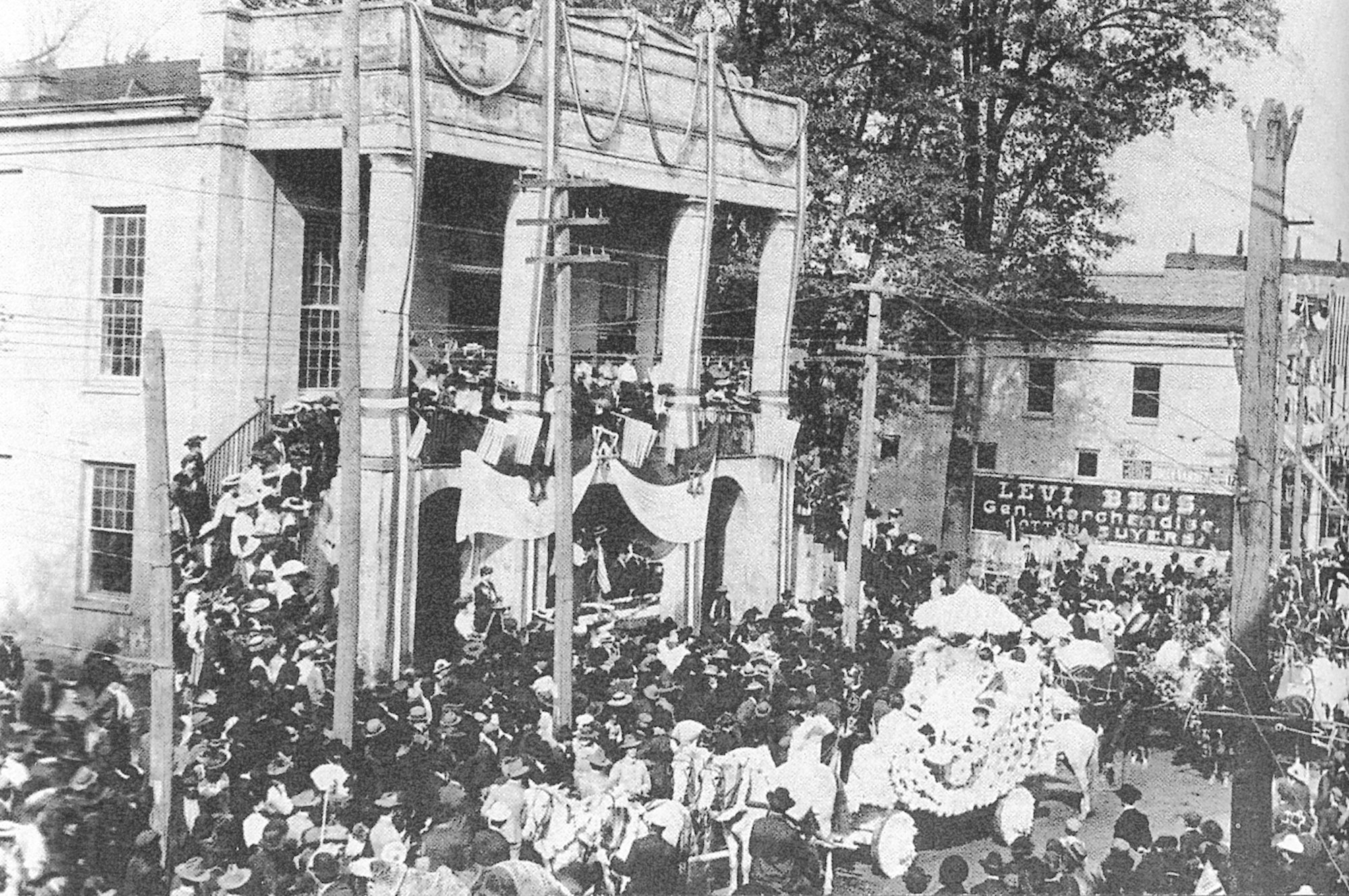 Sumter's second courthouse is seen during a parade on Main Street in 1893. This courthouse was completed in 1821 and faced Main Street across from the Sumter Opera House.