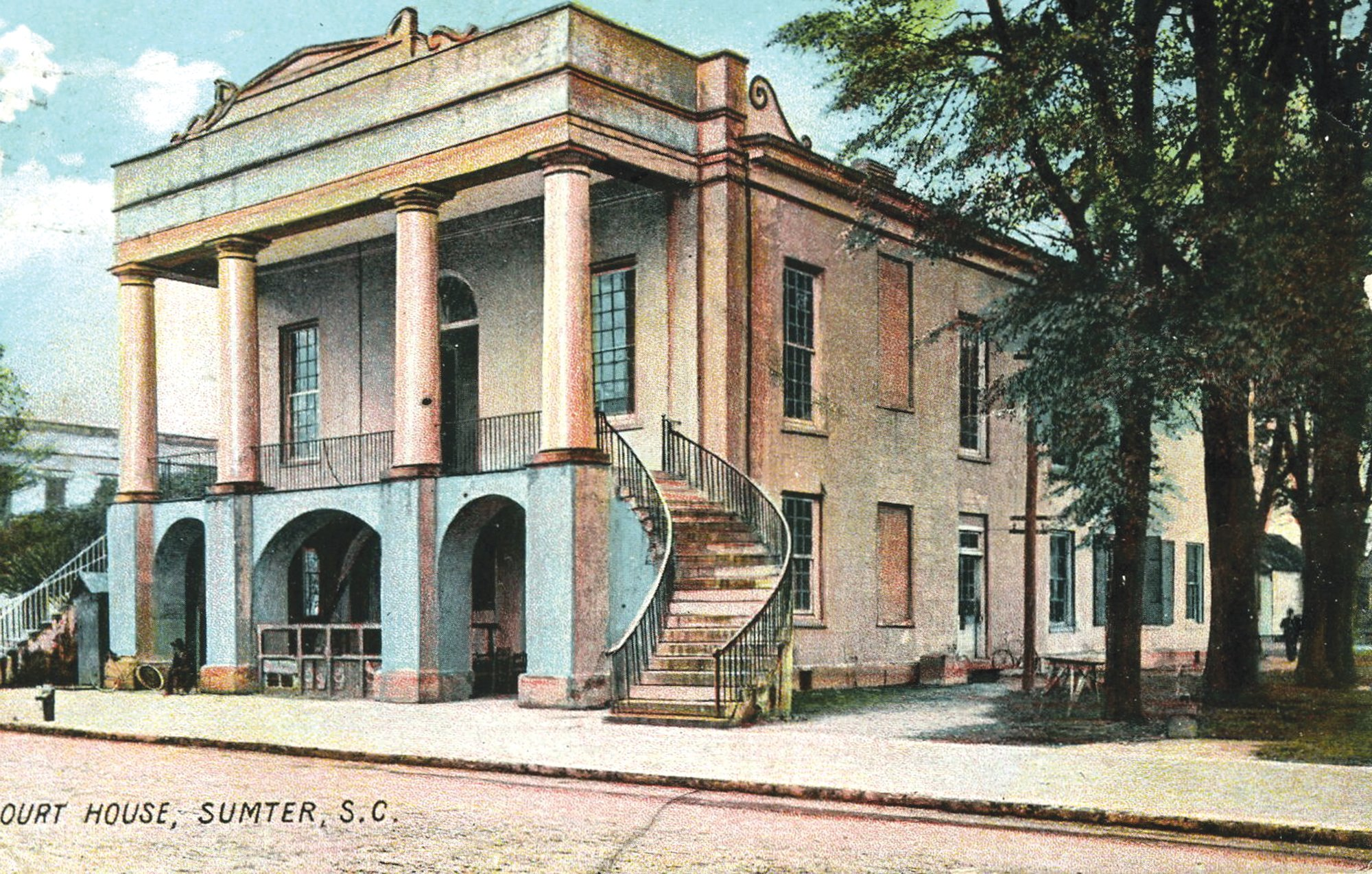 The city's second courthouse is seen in this postcard.