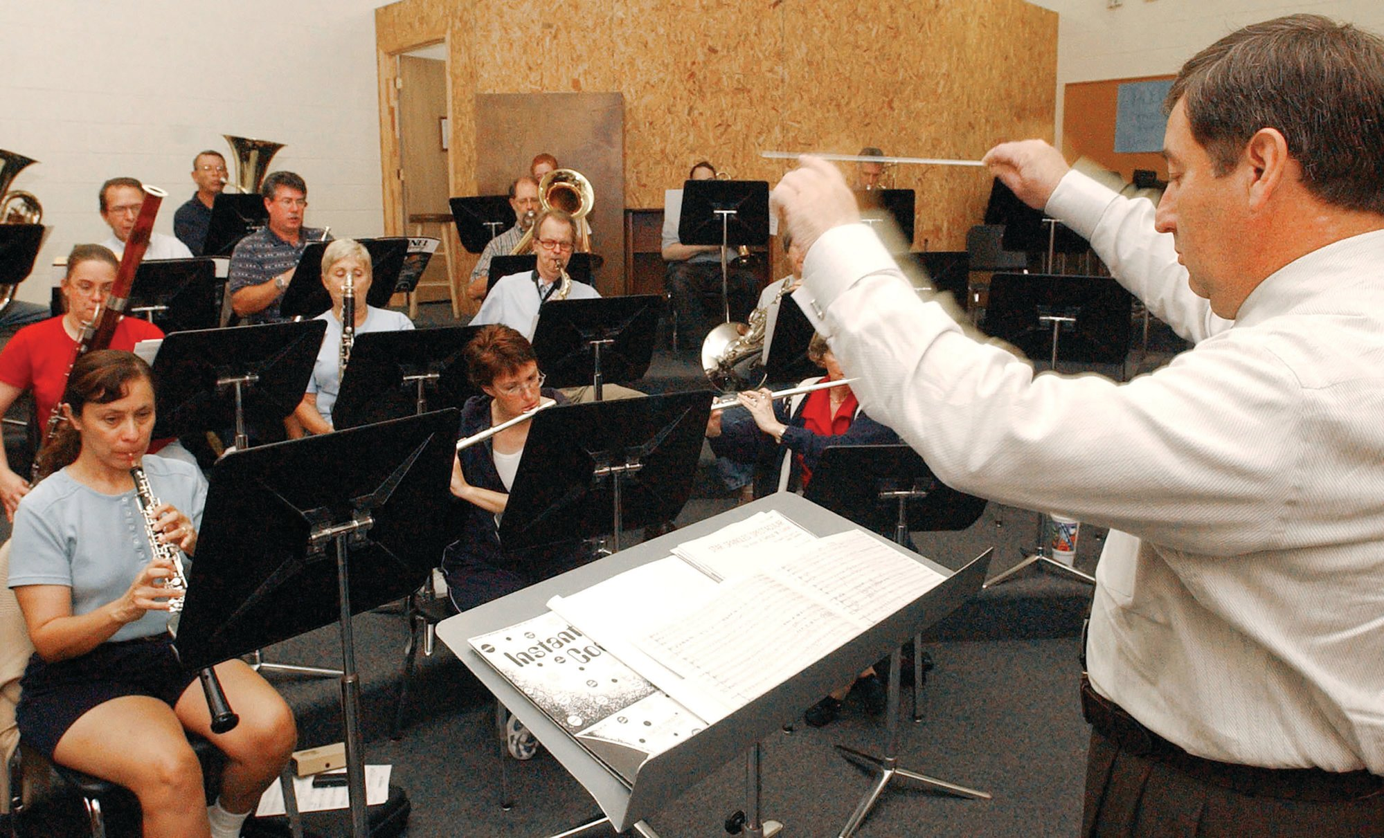 "SUMTER ITEM FILE PHOTOJames H. ""Jim"" Mills, shown conducting a rehearsal, is the longest serving SCCB conductor, having started with the band in 2004. The band's first concert of the 2019-20 season will be at 3 p.m. Sunday, Oct. 6, at Patriot Hall, its home location."