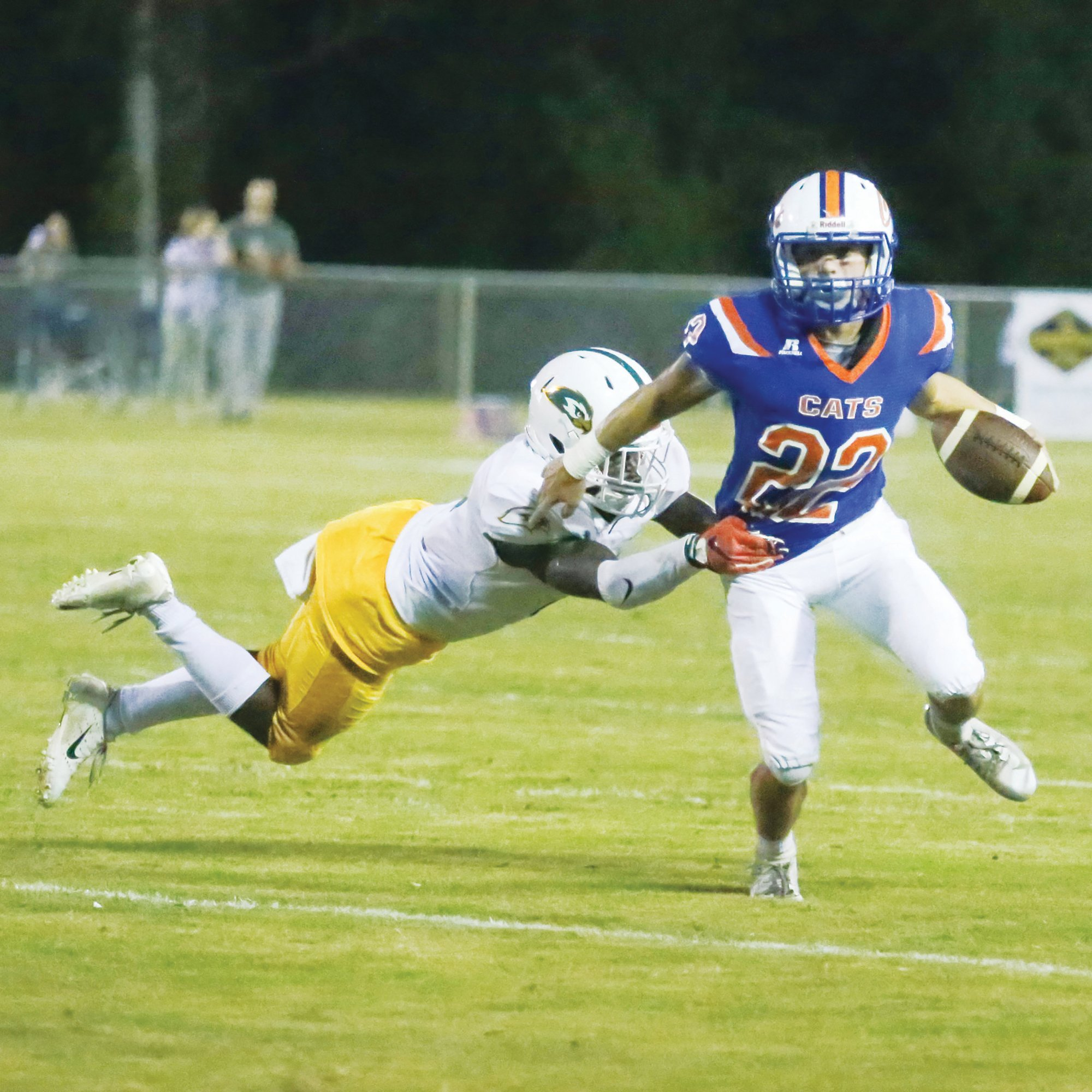 SUMTER ITEM FILE PHOTORunning back Wyatt Rowland (22) will be one of the leaders of the Laurence Manning offense when the Swampcats open the season on Friday on the road against Augusta Christian School.