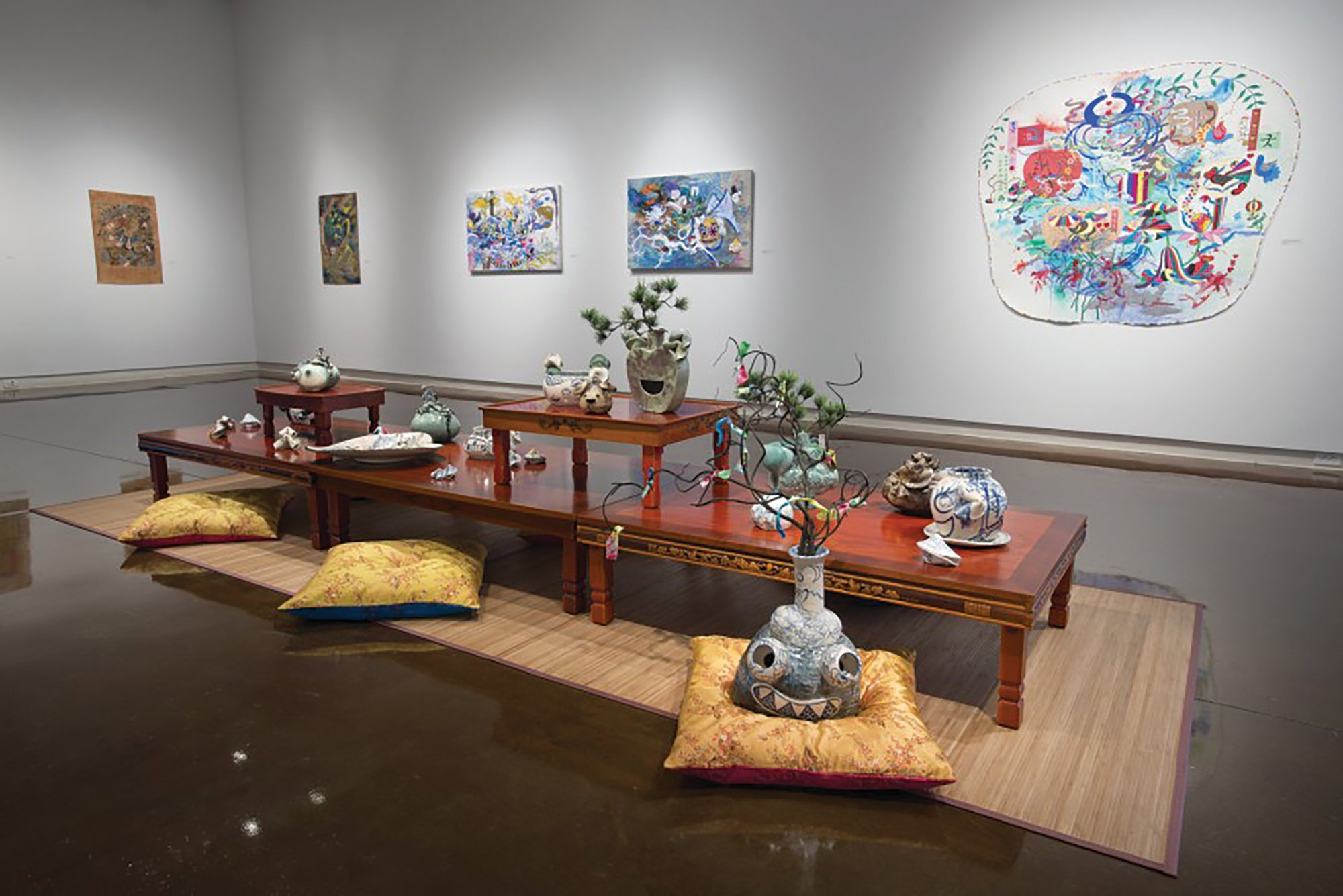 "PHOTOS PROVIDED  A ""Mad Tea Party"" installation is the centerpiece of artist Jiha Moon's exhibition that opens with a 5:30-to-7:30 p.m. reception and artist talk Thursday at the Sumter County Gallery of Art, 200 Hasell St; the public is invited to attend."