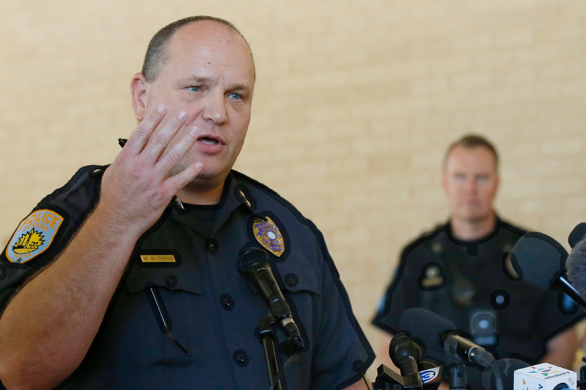 Odessa Police Chief Michael Gerke speaks during a news conference Monday in Odessa, Texas. The gunman in a spate of violence after a traffic stop in West Texas had just been fired from his job and called both police and the FBI before the shooting began, authorities said.