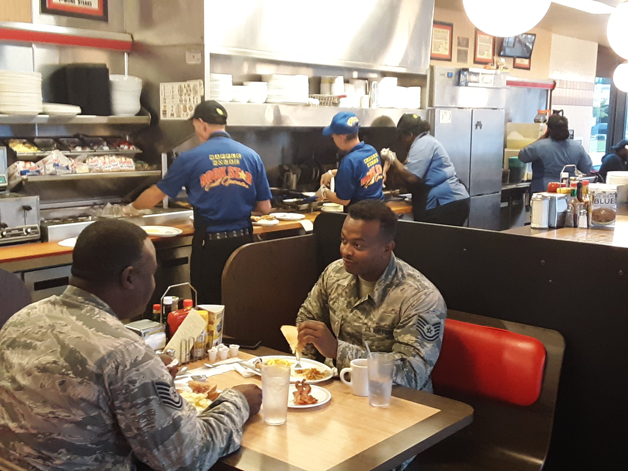Military personnel eat breakfast on the morning of Thursday, Sept. 5, 2019, at Waffle House, 1350 Broad St., before going to work as Hurricane Dorian dumps mild rain and wind on Sumter.