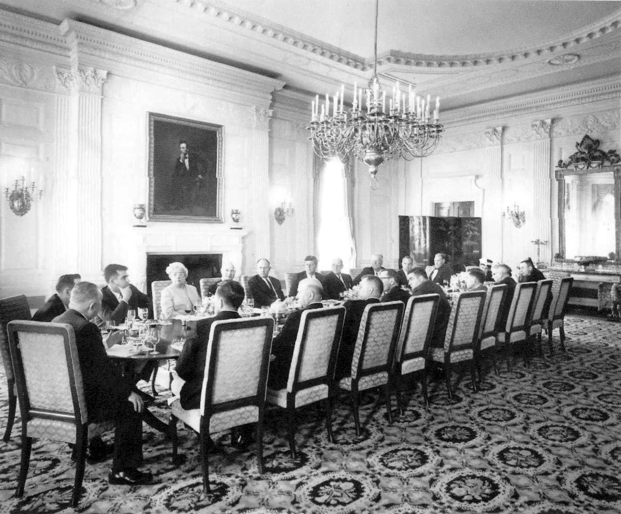 Hubert D. Osteen, editor and publisher of The Sumter Daily Item, visited the White House in 1963 on invitation by the president, John F. Kennedy. Osteen is seen in the third chair from the left, his back facing the camera.