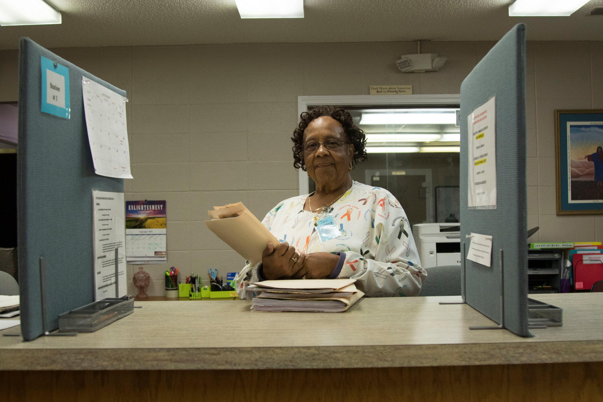 Jan Coplin runs the front desk and intake of clients at the medical clinic. The clinic is just one of the ministries the organization provides to those in need in the community.