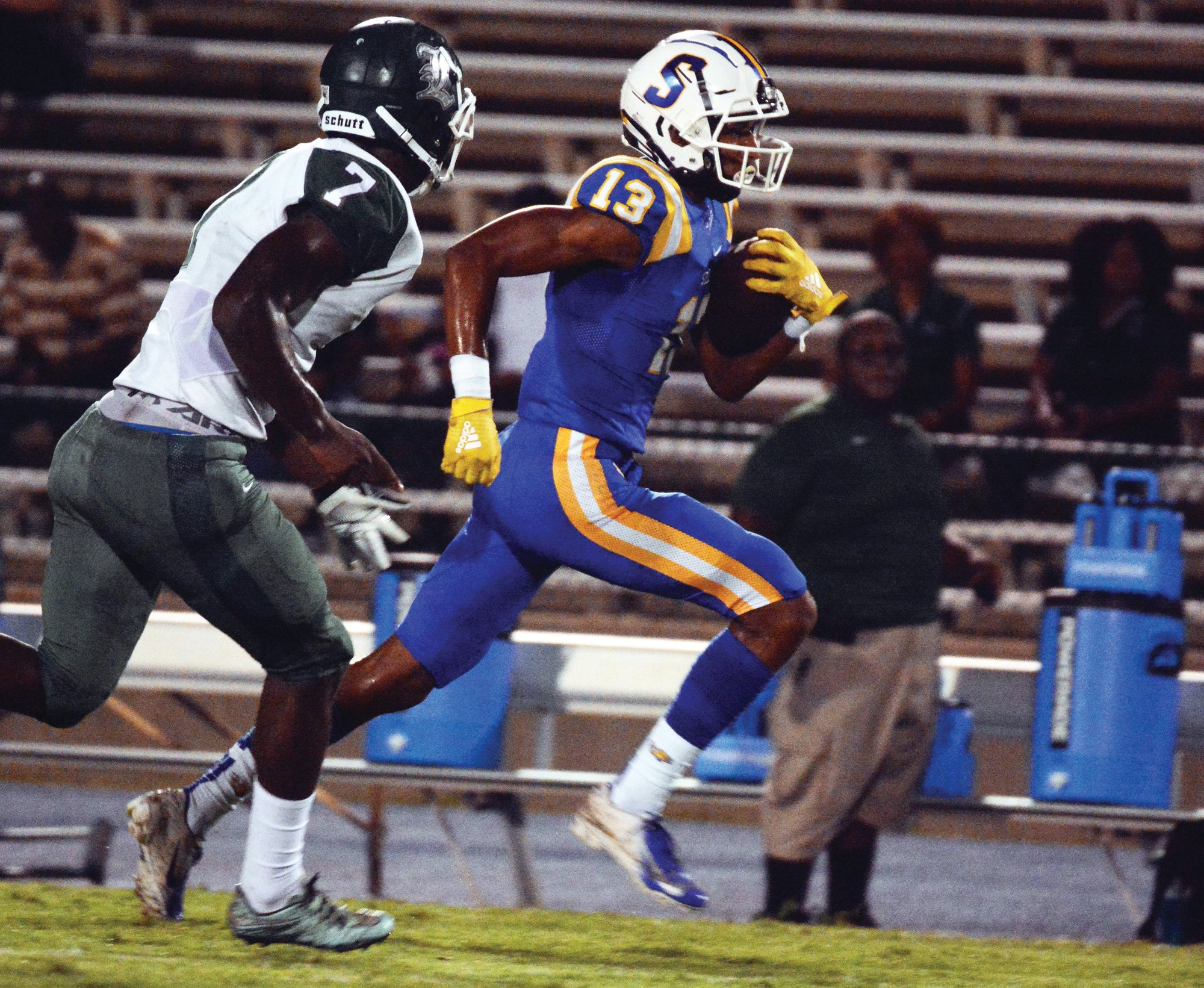 TIM LEIBLE / THE SUMTER ITEMSumter High School wide receiver Tylee Craft (13) and defensive back teammate O'Donnell Fortune have been selected to play for South Carolina in the Shrine Bowl in December.