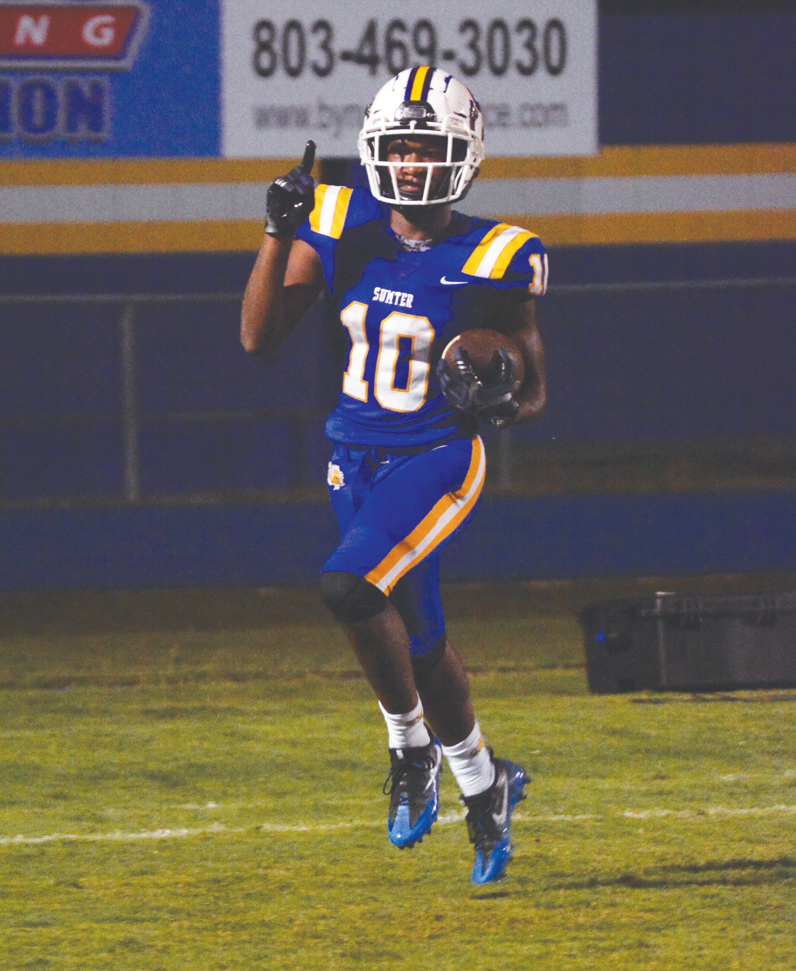Anthony Dinkins-McCall celebrates after scoring a touchdown during Sumter's 61-0 win over Lakewood  last week. Dinkins-McCall is looking to have a third straight 100-yard rushing game when the Gamecocks play host to Northwestern on Friday.