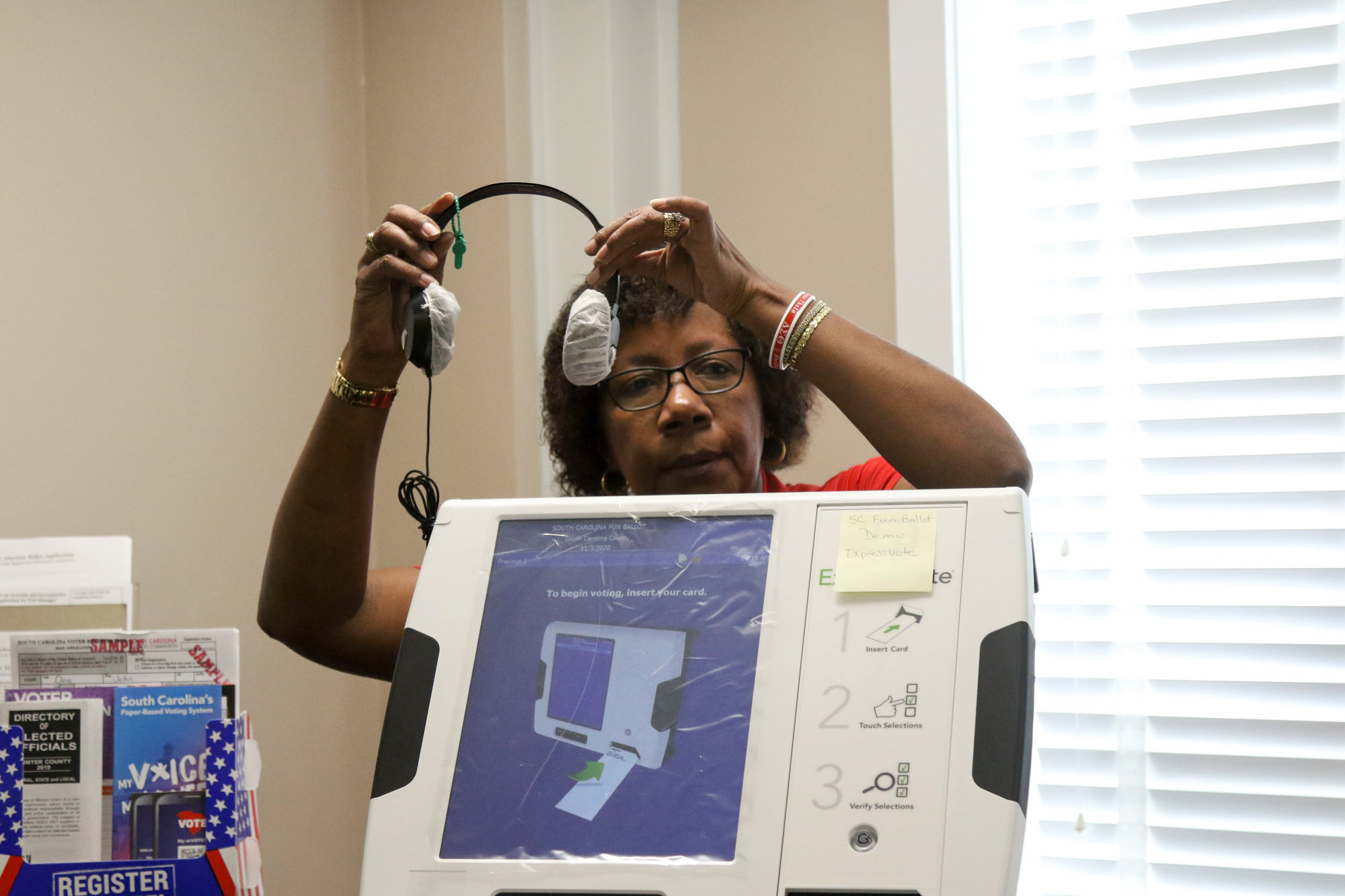 A hearing aid is available on every ExpressVote machine.