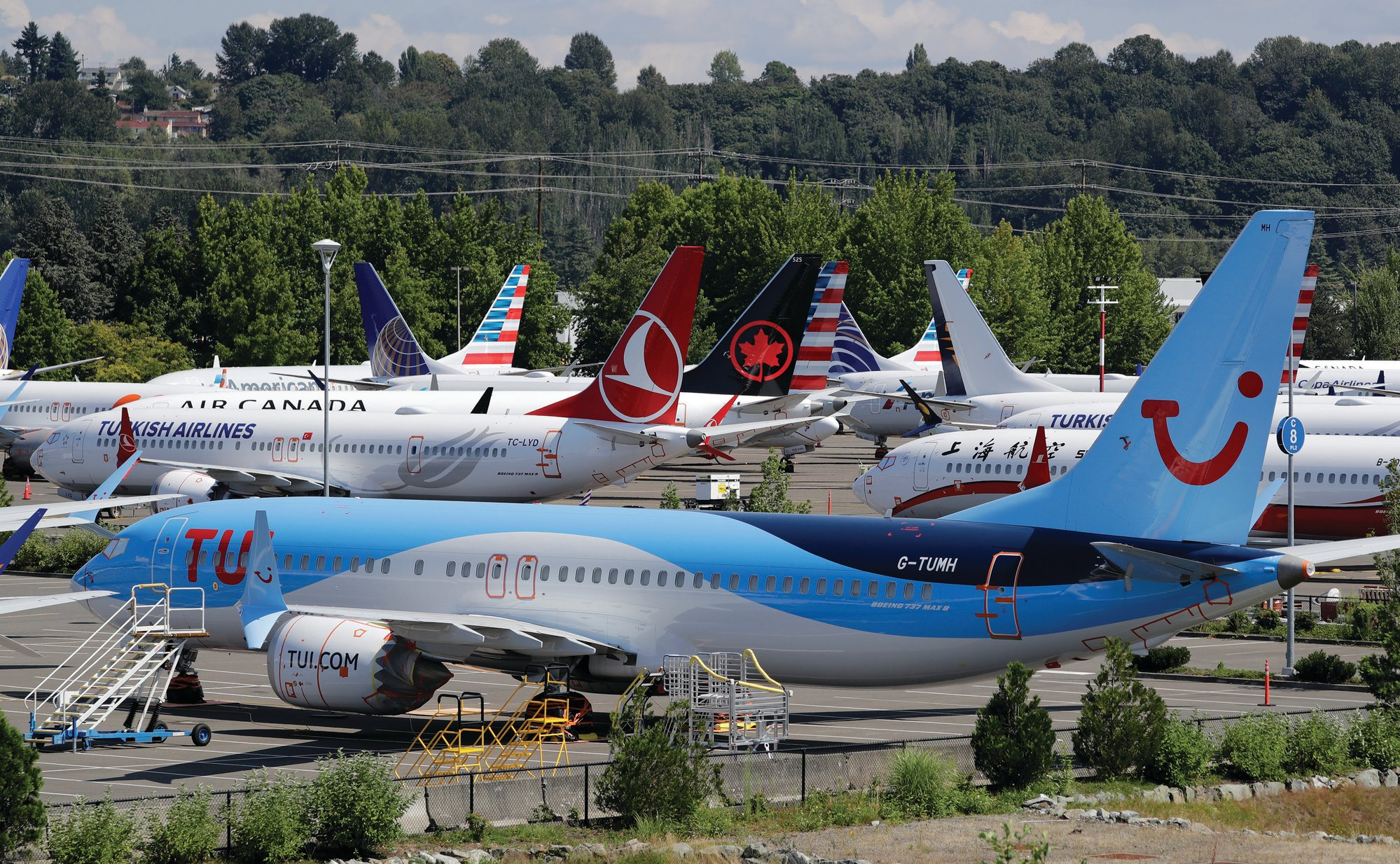 THE ASSOCIATED PRESS  Dozens of grounded Boeing 737 Max airplanes crowd a parking area adjacent to Boeing Field in Seattle. Aviation authorities around the world grounded the plane in March after two fatal crashes.