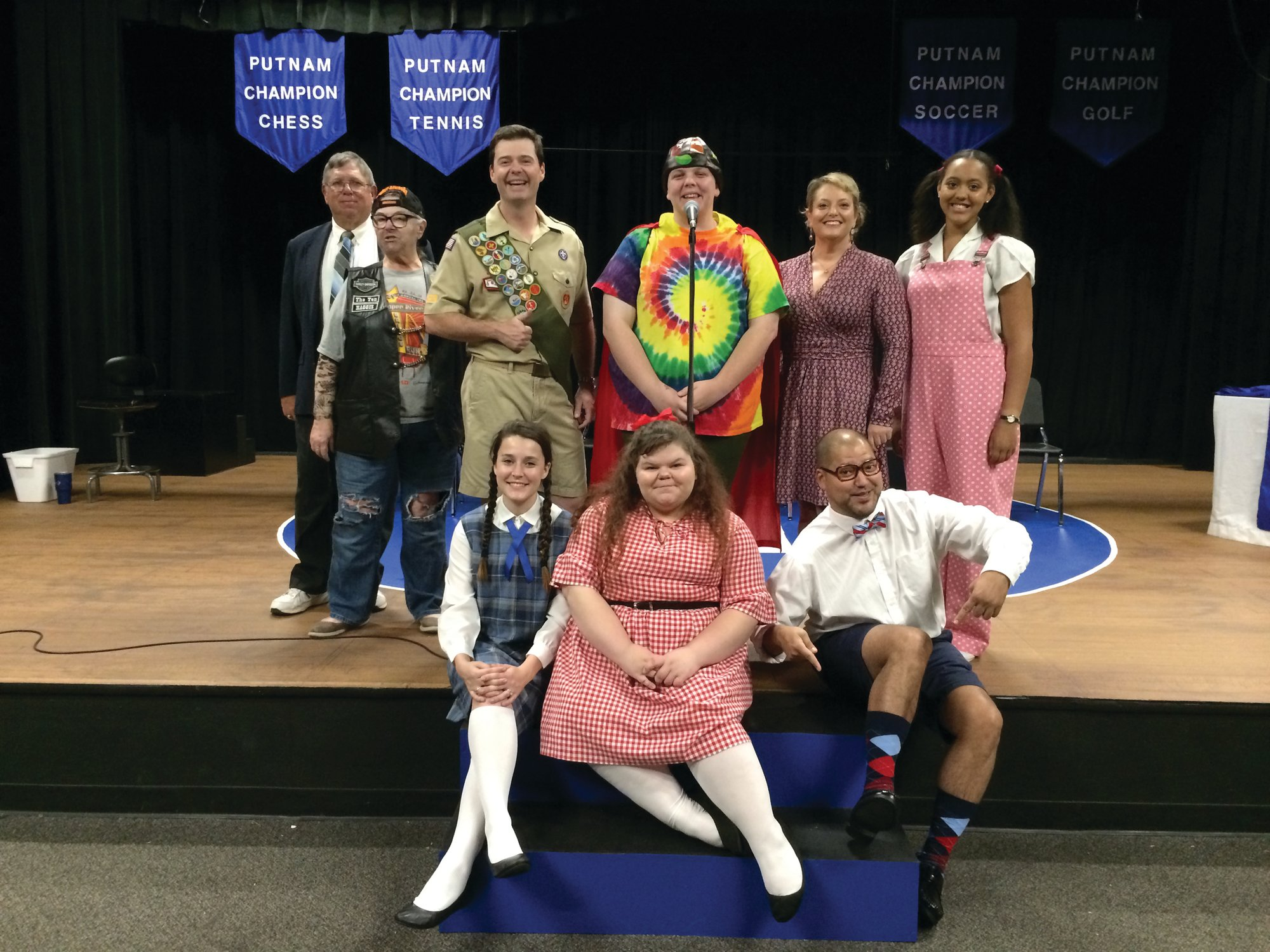 "The cast of Sumter Little Theatre's musical comedy, ""The 25th Annual Putnam County Spelling Bee."""