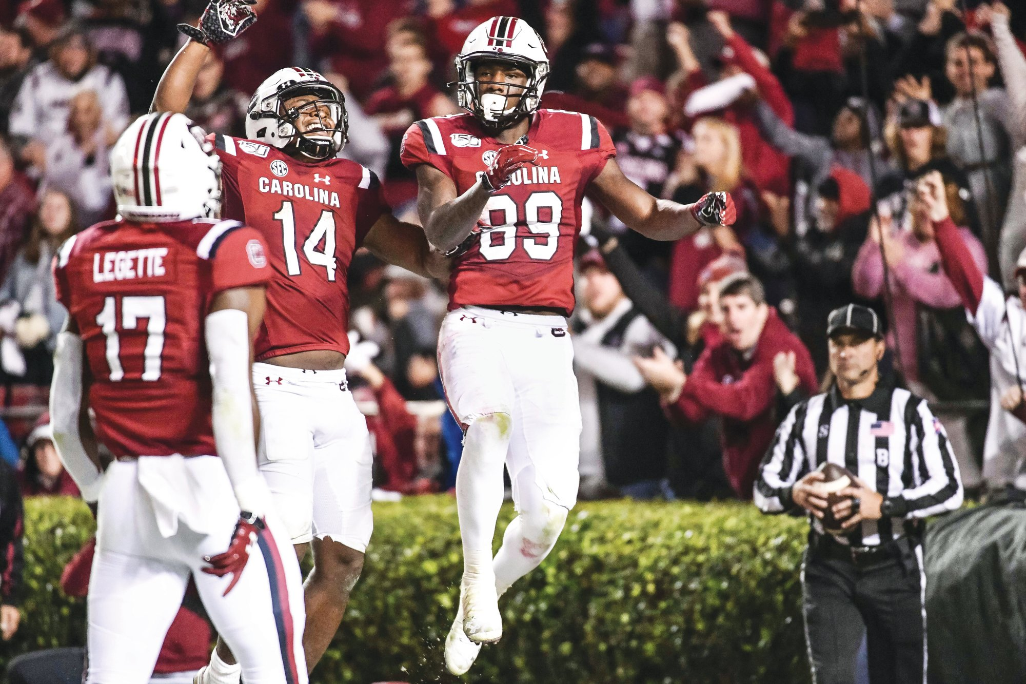South Carolina wide receiver Bryan Edwards (89) and running back Deshaun Fenwick (14) celebrate Edwards' touchdown during the Gamecocks' 24-7 win over Vanderbilt on Saturday in Columbia.