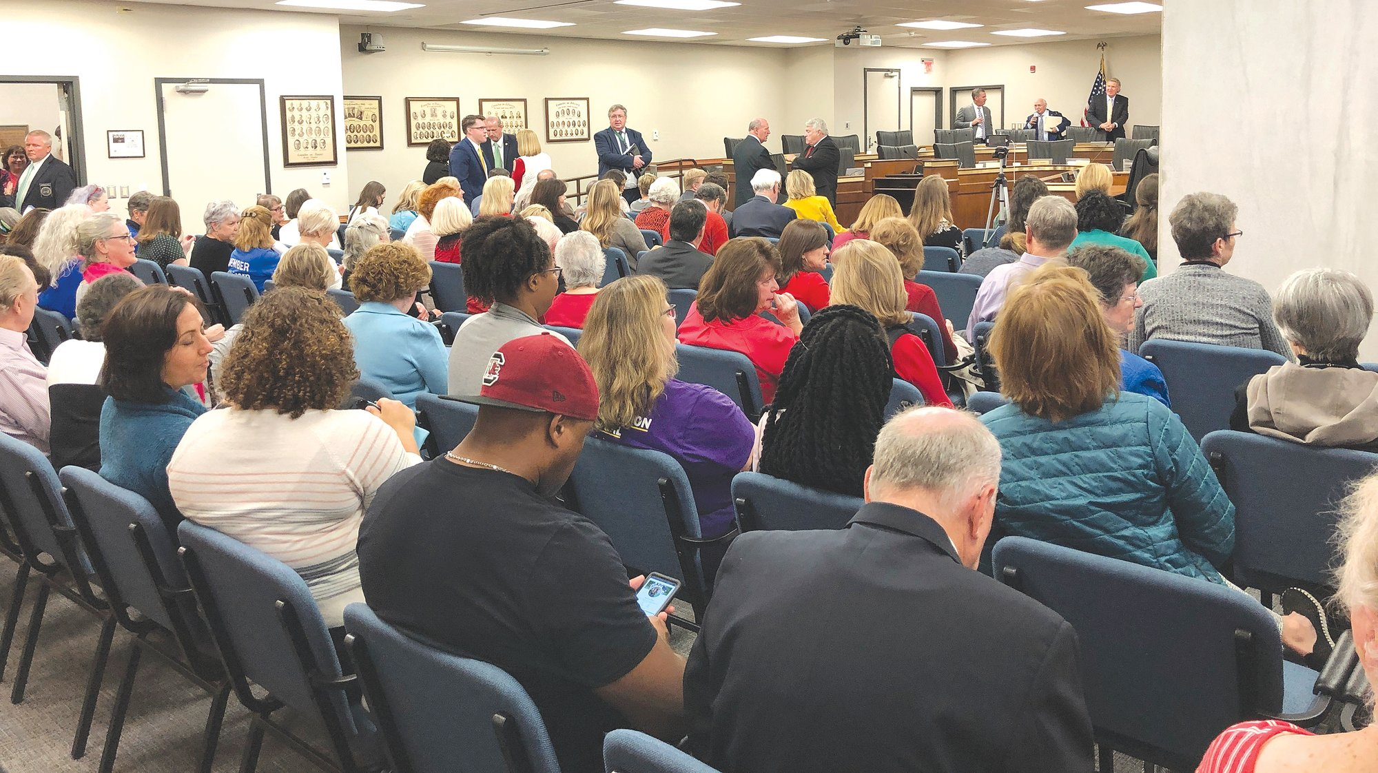 "A crowd fills a South Carolina Senate hearing room as a Senate committee considers a strict ""heartbeat abortion"" ban on Tuesday in Columbia. A Senate committee sent the bill to the Senate floor, setting up a potential 2020 election year fight."