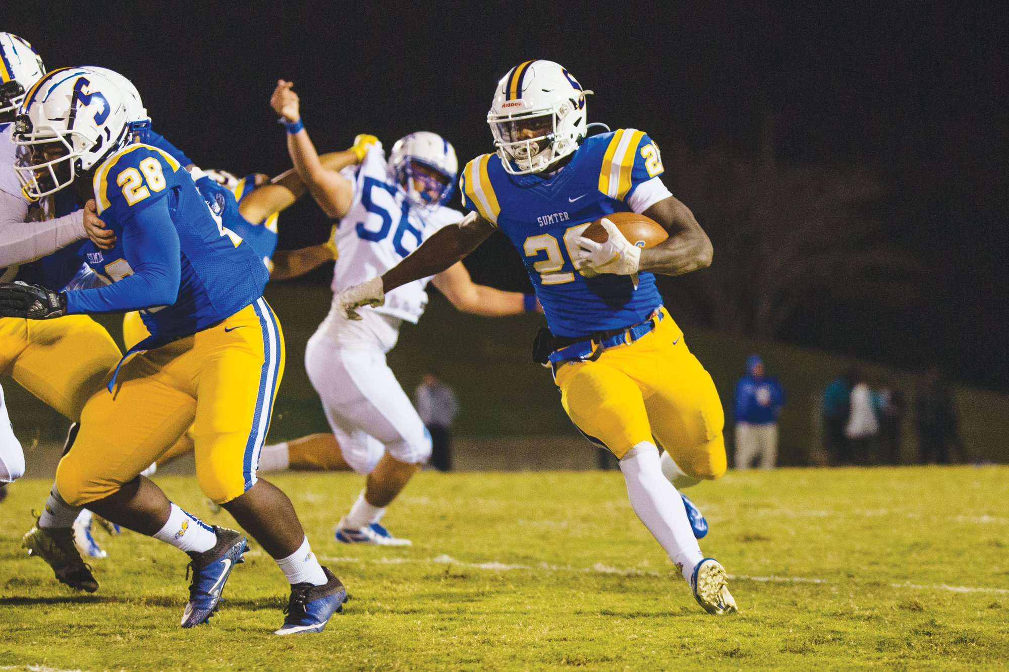 Sumter running back Nathan Harris-Waynick (26) and the Gamecocks will look to extend their undefeated season when they host Gaffney at Memorial Stadium's Freddie Solomon Field on Friday.