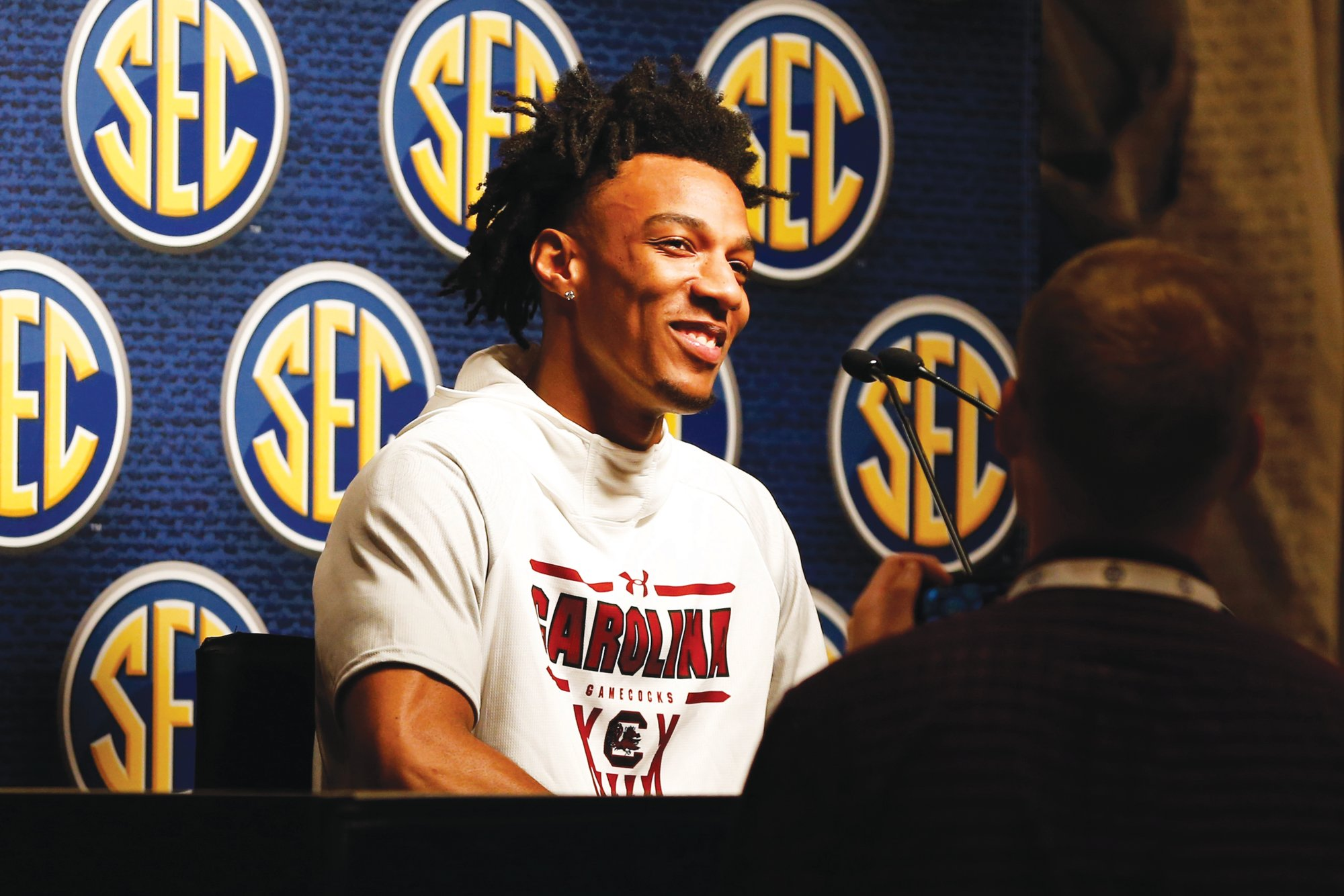 South Carolina's AJ Lawson speaks during the Southeastern Conference NCAA college basketball media day, Wednesday, Oct. 16, 2019, in Birmingham, Ala.