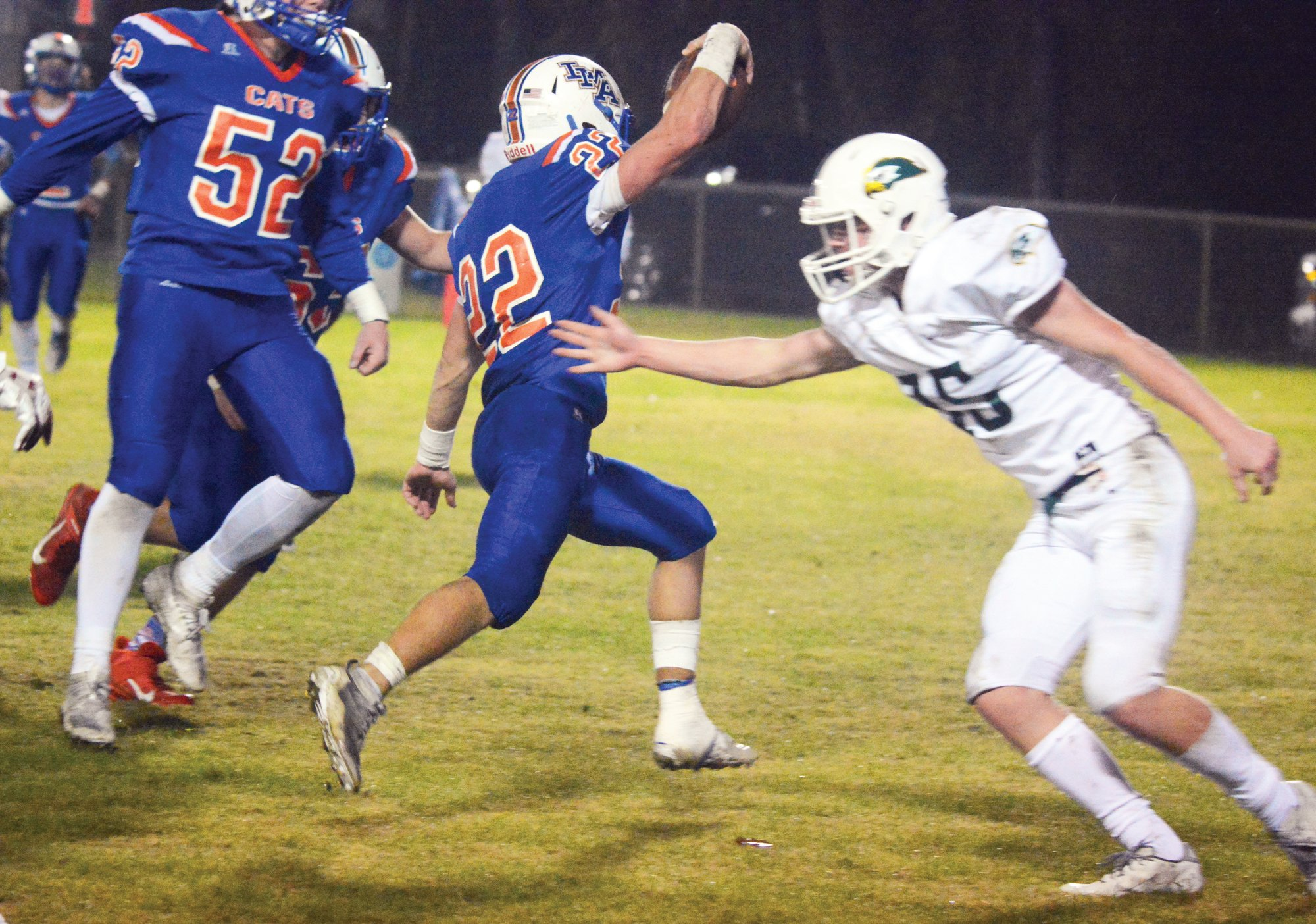 LMA running back Wyatt Rowland, center, scampers into the end zone for a two-point conversion against Ben Lippen on Friday night. Rowland rushed for 237 yards in the Swampcats' 48-42 victory to advance to the state championship next week against Hammond.