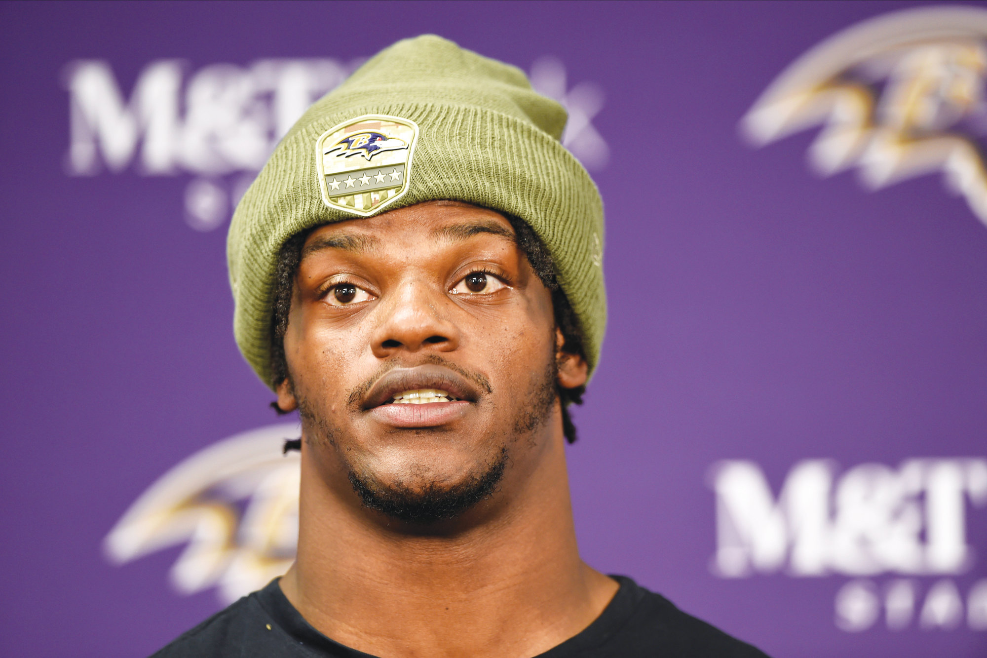 Baltimore Ravens quarterback Lamar Jackson talks to reporters after an NFL football game against the Houston Texans, Sunday, Nov. 17, 2019, in Baltimore. The Ravens won 41-7.