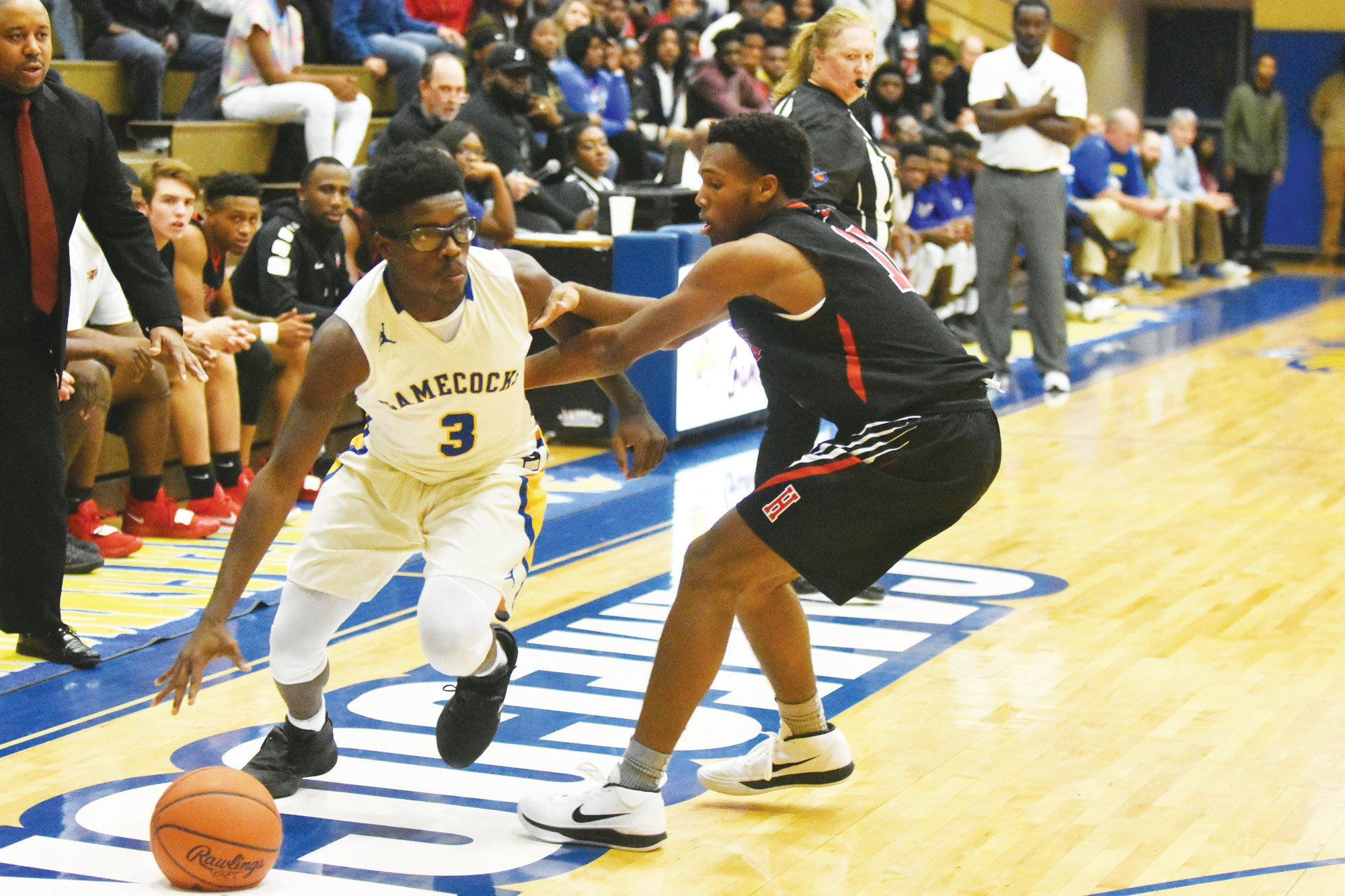 Carldrelle Cooper (3) is the only returning starter for Sumter High School from last year's boys basketball team. The Gamecocks will be under the tutelage of former Lakewood head coach Bryan Brown.
