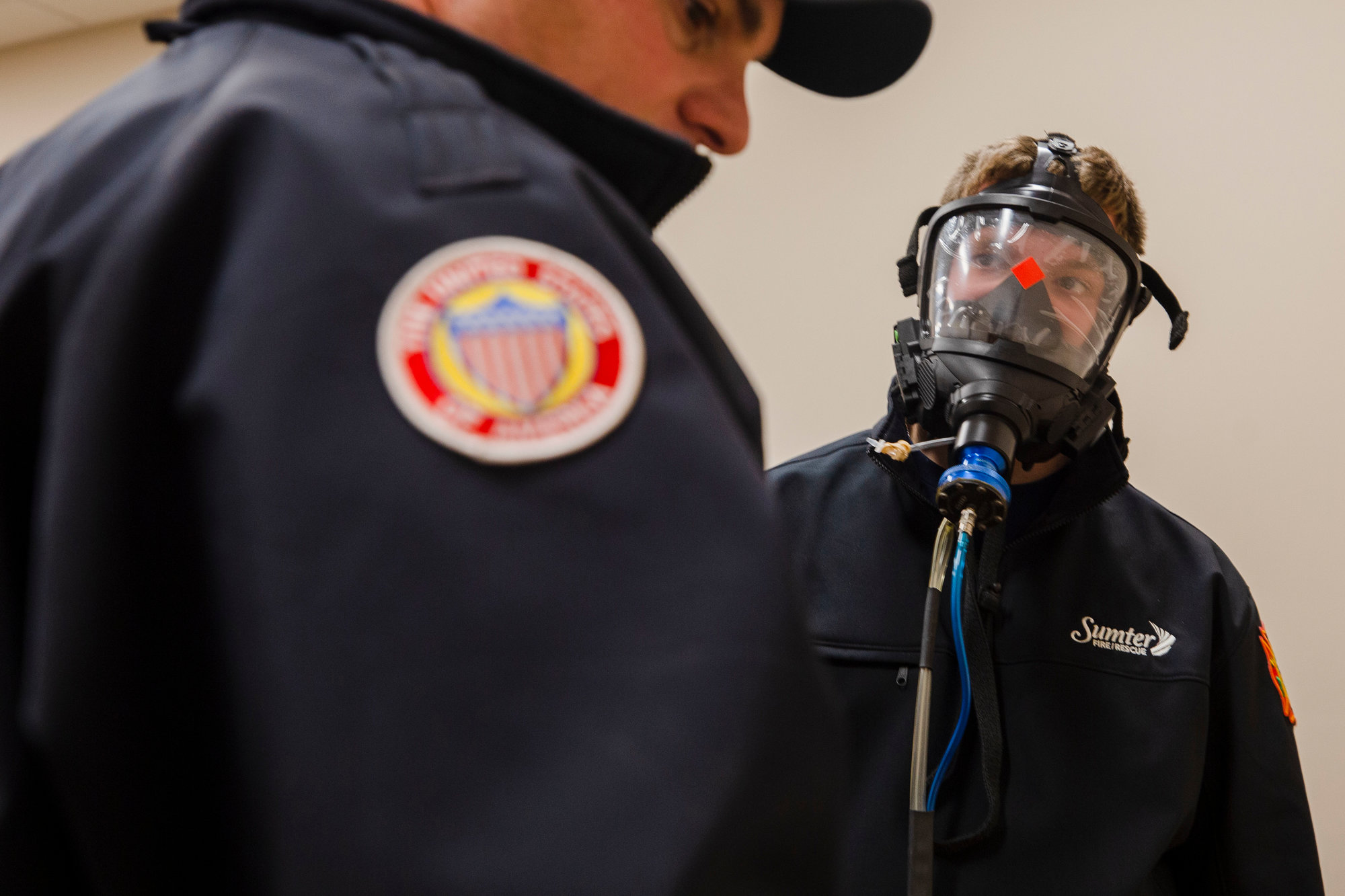 Sumter Fire Department firefighters test out new air packs the department received Tuesday. The packs have newer features, and firefighters training with them said they're easier to use and have an upgraded communication system.
