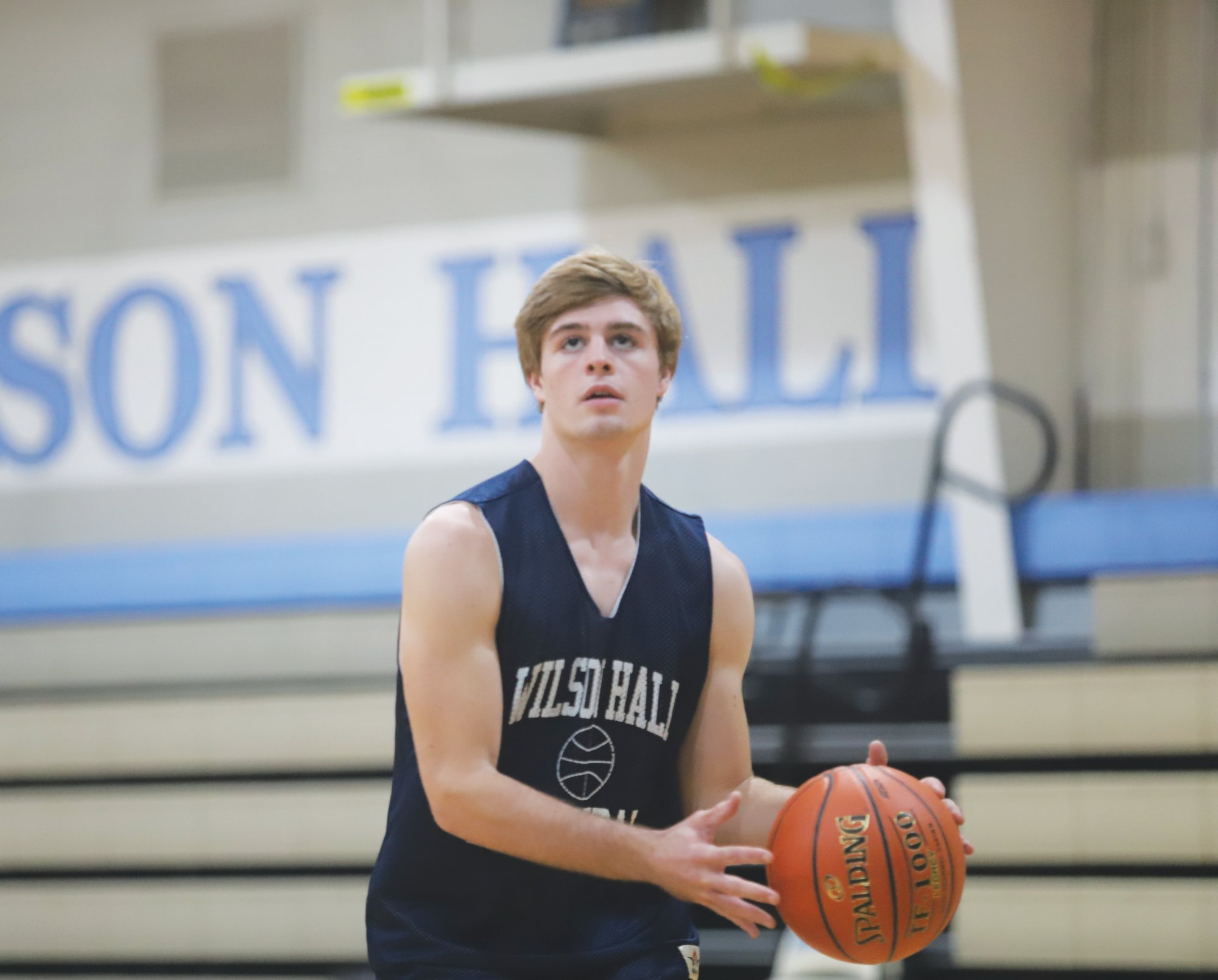 Wilson Hall forward Graham VanPatten works during practice on Monday. VanPatten and the Barons will face King's Academy for their season opener on Tuesday.