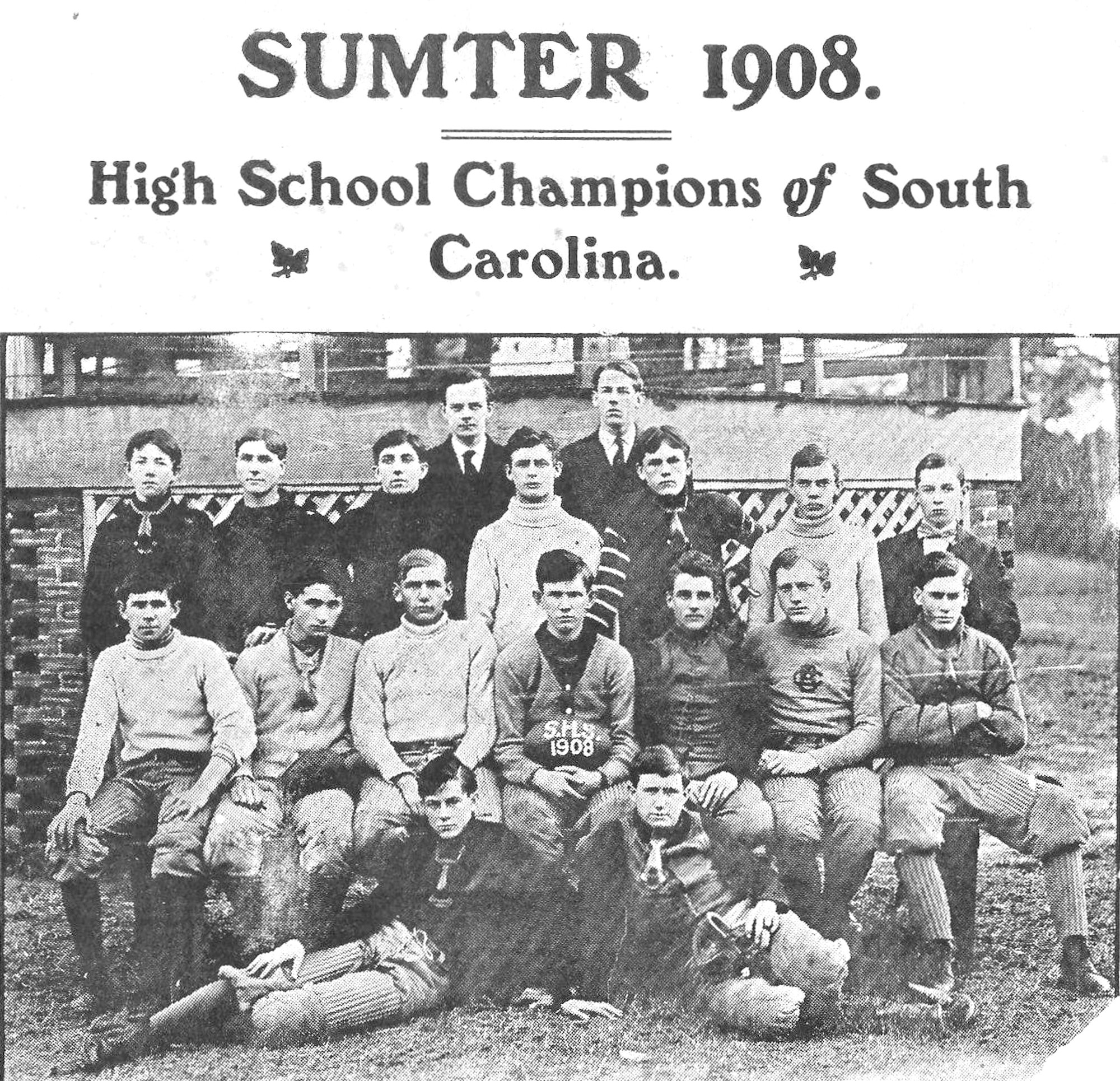 These teammeates defeated all comers during the 1908 season with a record of not being scored on. From left are (on the ground) Smith, left end; and N. Dick, left halfback and left tackle; (first row) Morris, end; Davis, fullback; F. Dick, sub guard; Shaw, captain, left halfback; Duffie, quarterback; Collins, center; Brown, right tackle; (second row) Walsh, right end; Jones, left tackle; Owens, left guard; Green, right halfback; Williford, right guard; Hinson, sub end; Rhame, manager. (back row)
