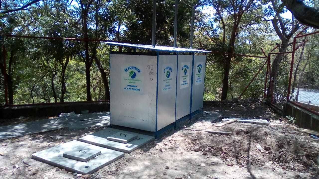 Construction continues on new latrines at a school in Nicaragua recently.