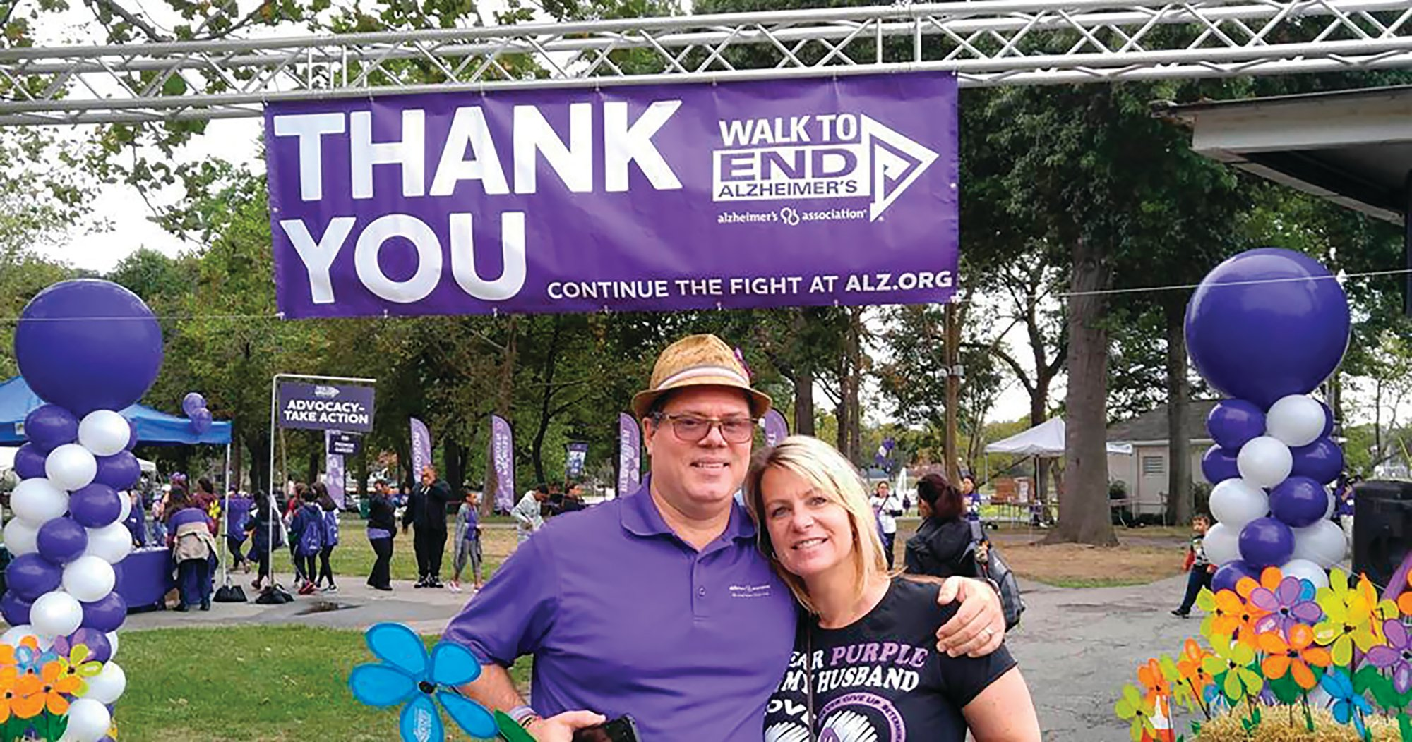 Kim and Jeff Borghoff pose at a fundraising event for the Alzheimer's Association. For Kim and her family, keeping a tradition of Sunday meals helped maintain a sense of normalcy as her husband, Jeff, and his father were simultaneously struggling with Alzheimer's disease.