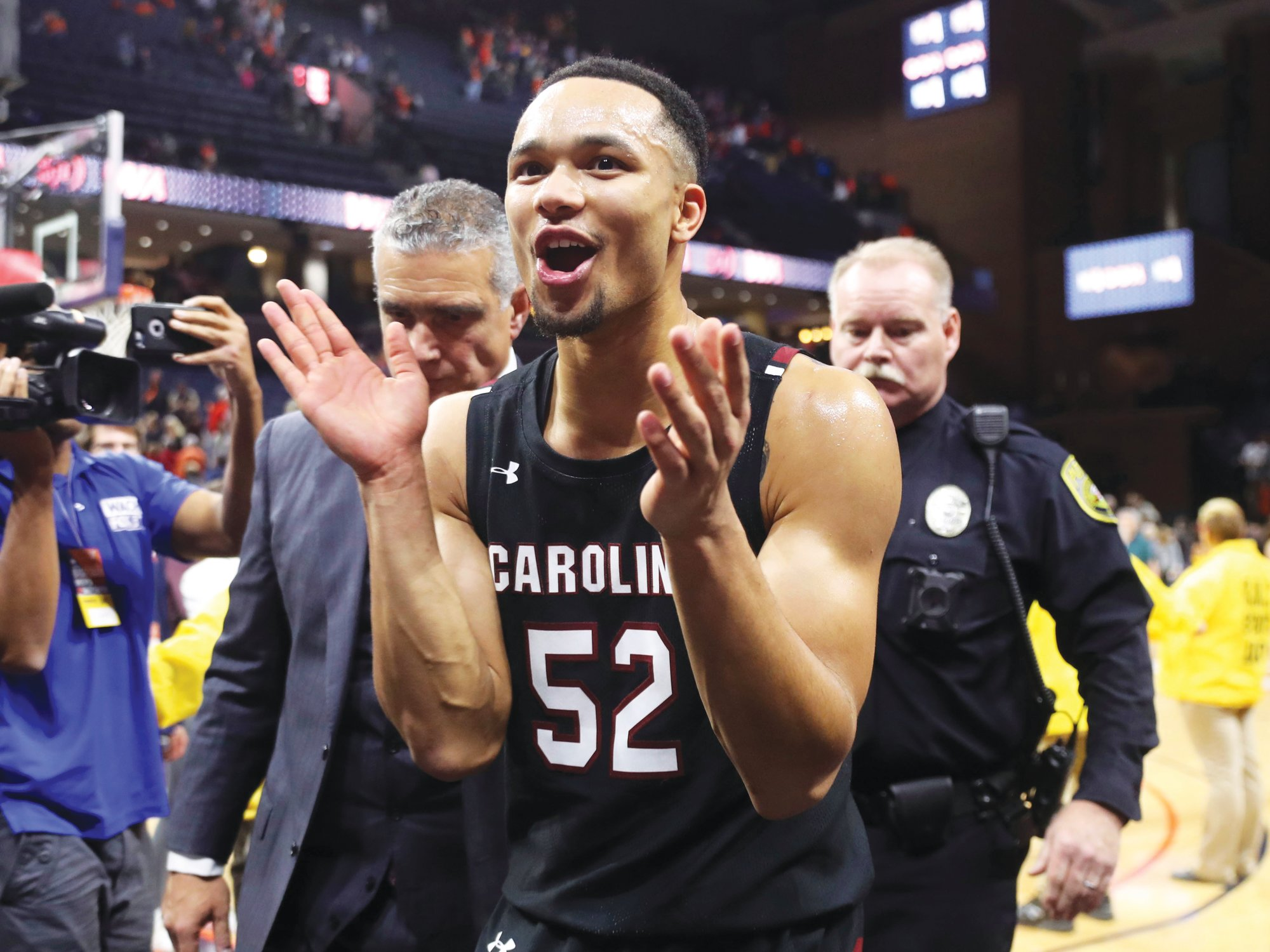 South Carolina guard Jair Bolden (52) reacts to the Gamecocks' 70-59 win over Virginia in Charlottesville, Virginia on Sunday.
