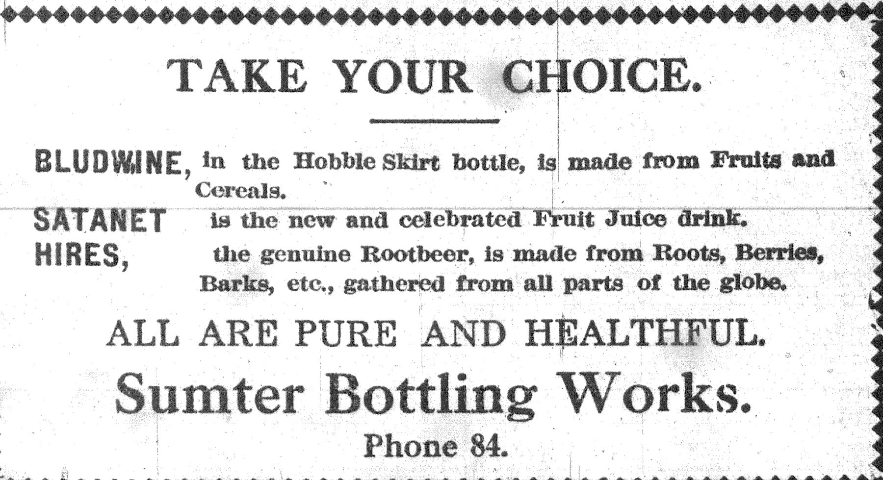 This ad was printed in the Item in July 1916, touting the healthy drinks made by the company.