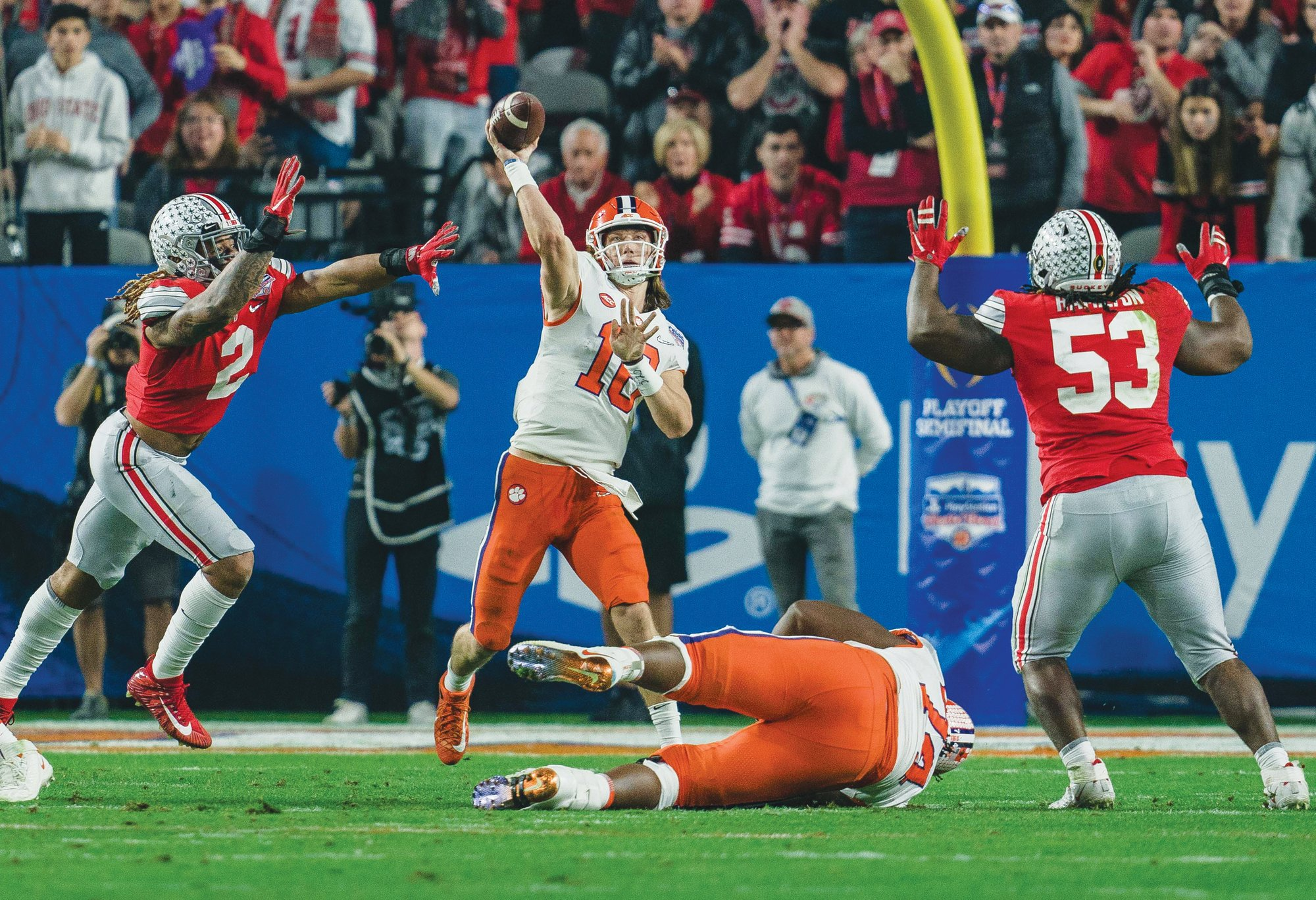 Clemson quarterback Trevor Lawrence (16) prepares to throw a pass during the Fiesta Bowl. The Tigers defeated Ohio State 29-23 to advance to the College Football Playoff national championship game on Monday against Louisiana State.