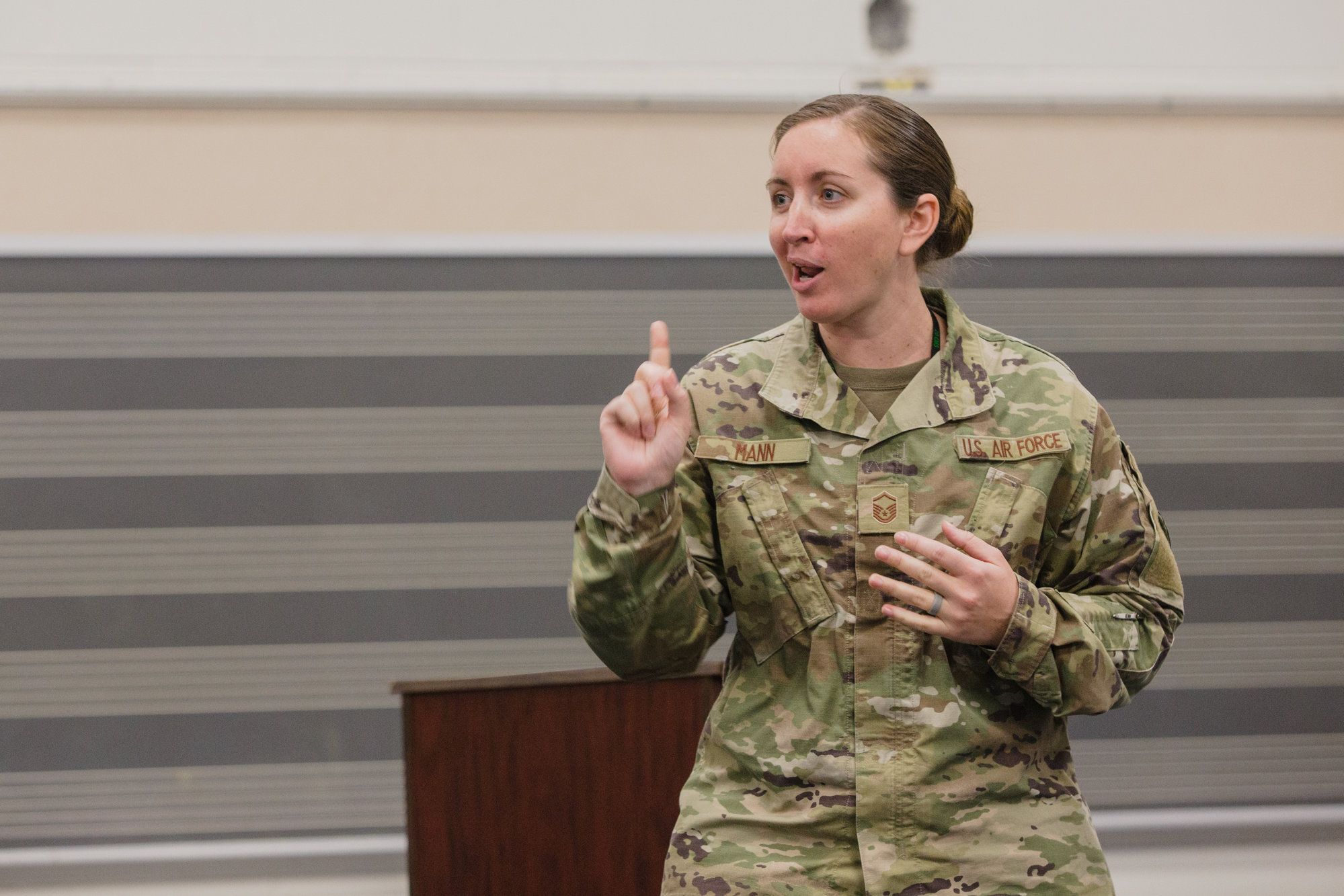 Master Sgt. Jessica Mann speaks with students at Scott's Branch High School during a Rocket Girls program on Wednesday.