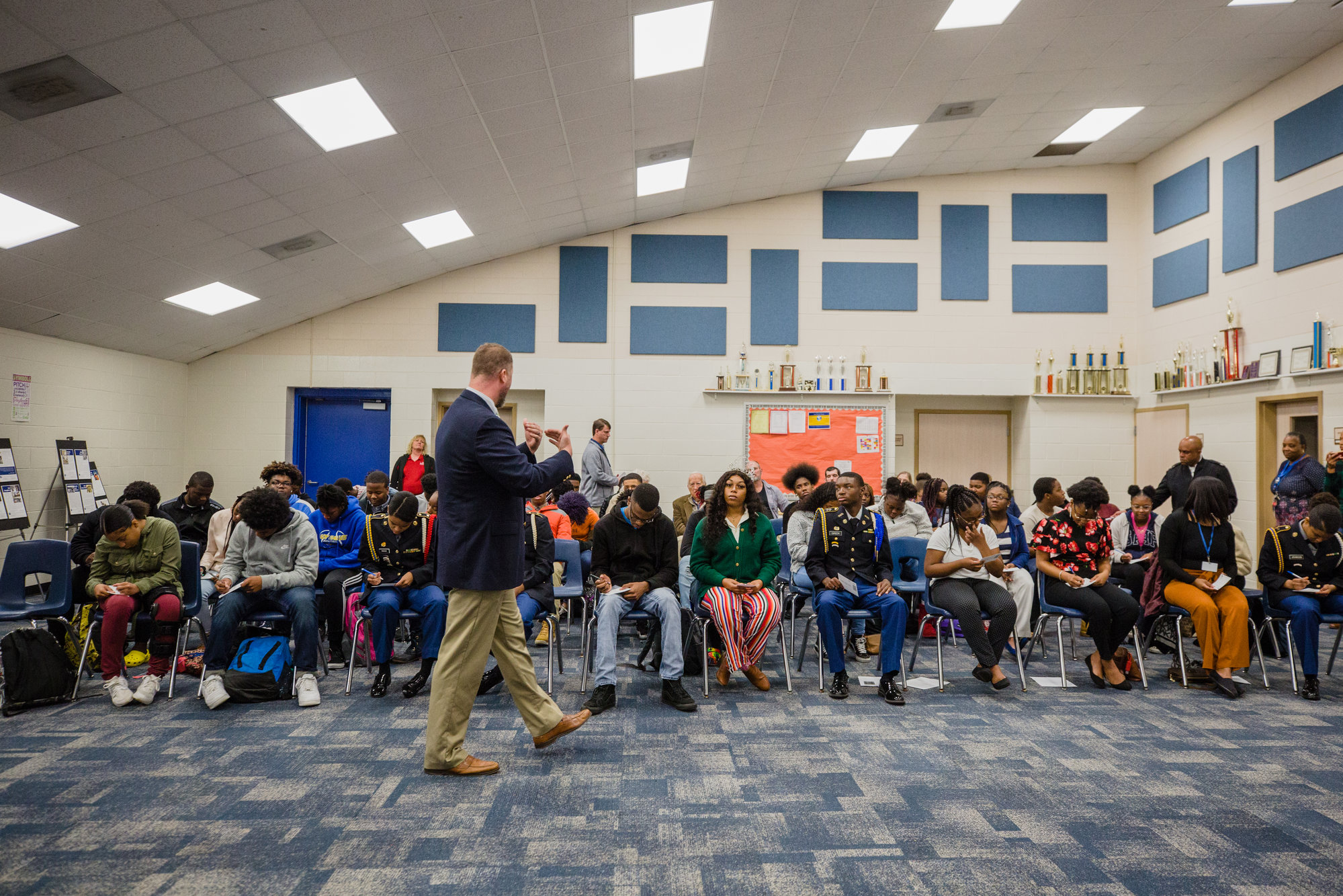 Students at Scott's Branch High School listen during the program on Wednesday.