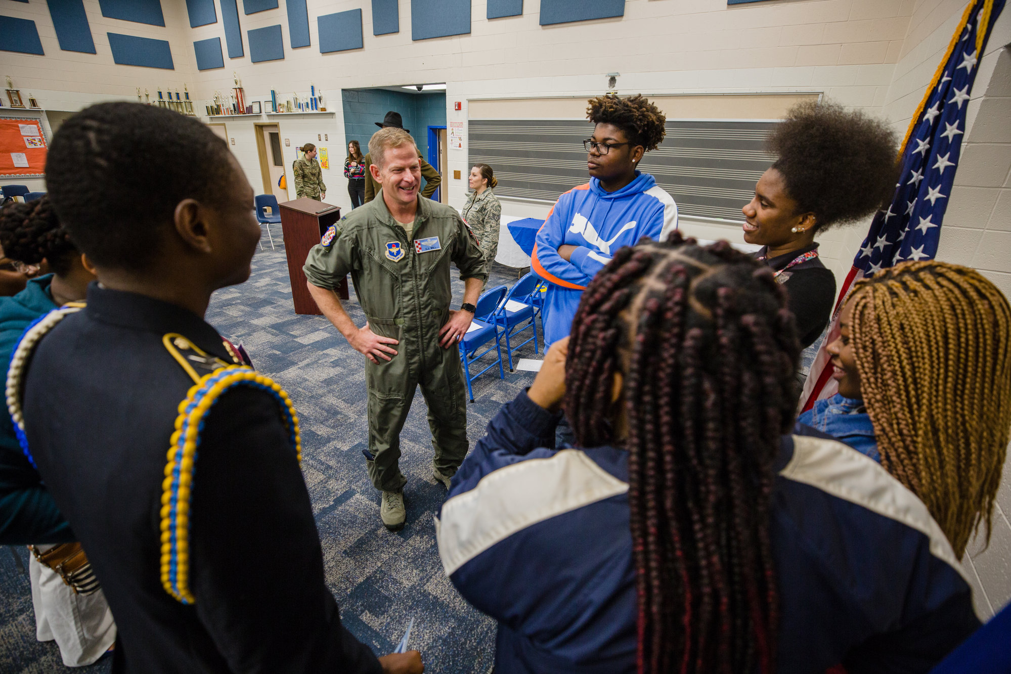 Col. Christopher J. Will, commander, 765th Detachment, Air Force Reserve Officer Training Corps, speaks with students at Scott's Branch High School on Wednesday.