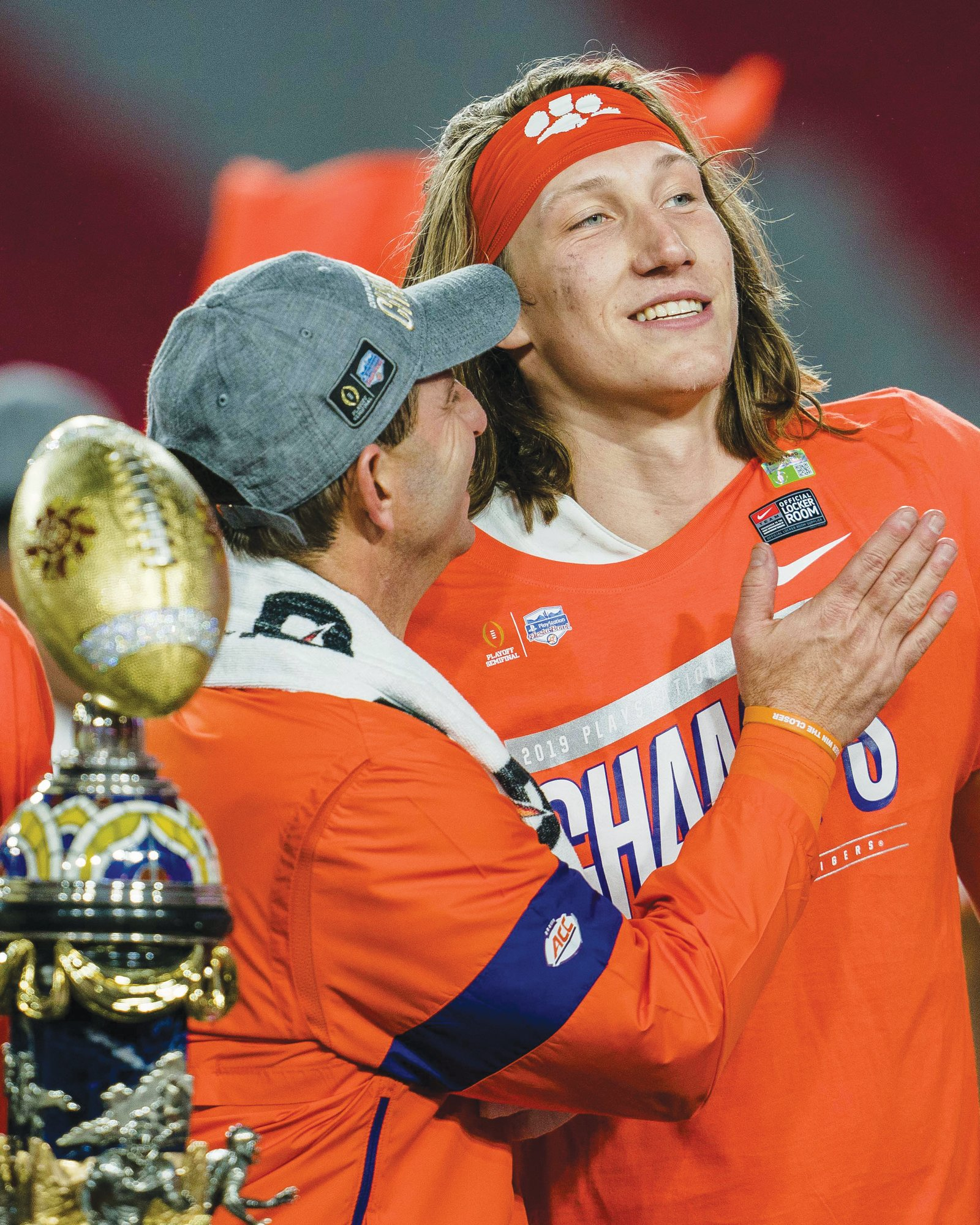 Clemson head coach Dabo Swinney, left, and quarterback Trevor Lawrence will face LSU in the National Championship game on Monday.