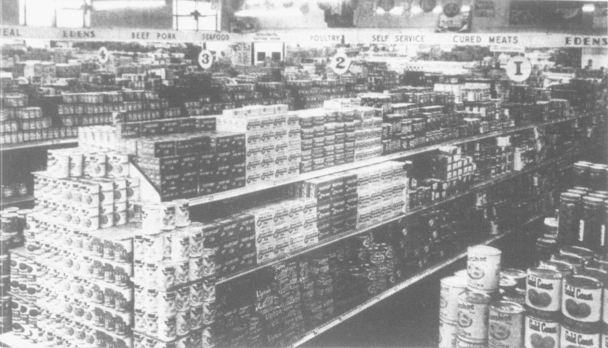 The interior of the newly remodeled Edens Food Store at Sumter and Dugan streets is seen in February 1954.