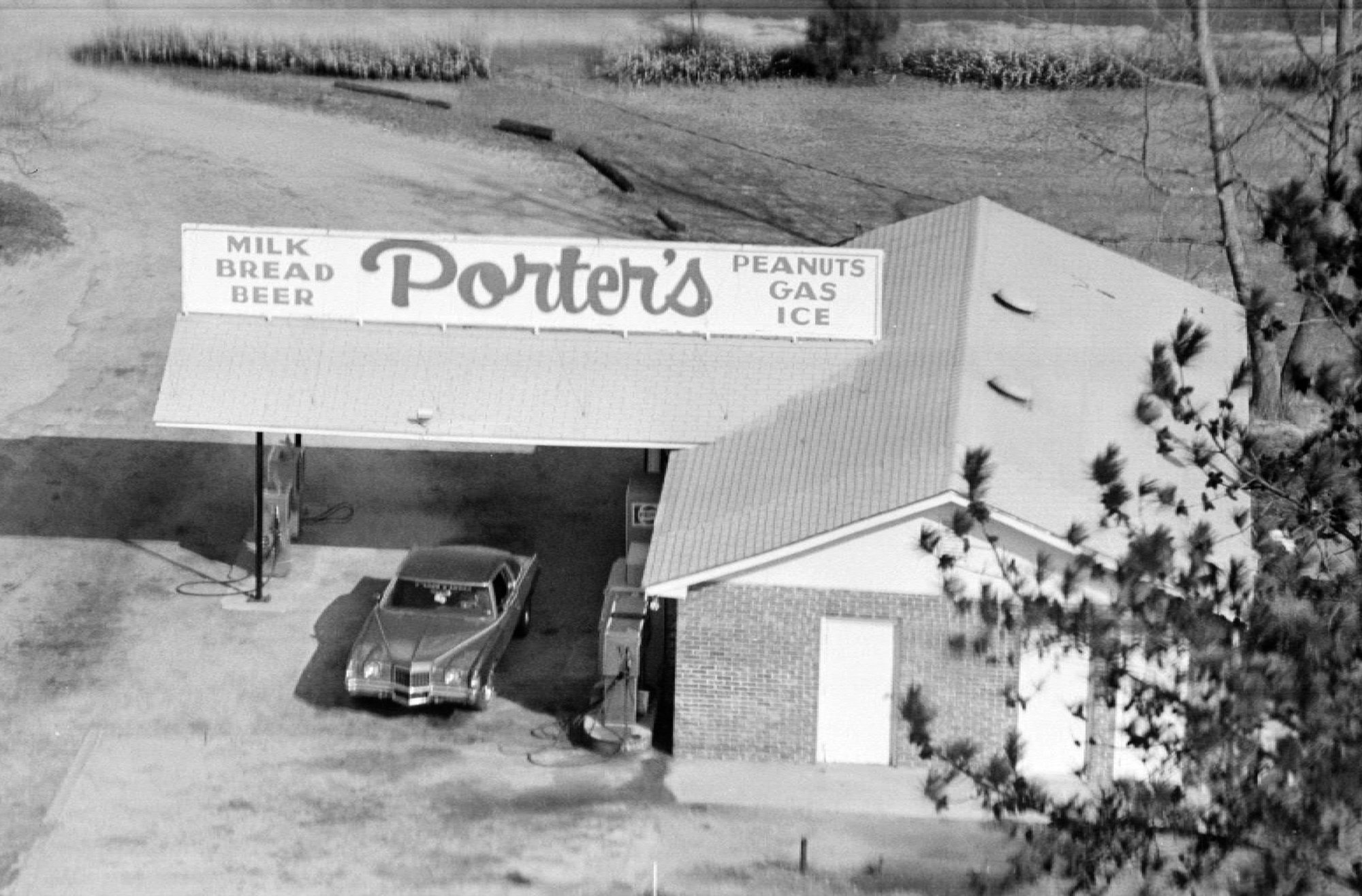 Porter's Grocery Store is seen from the air.