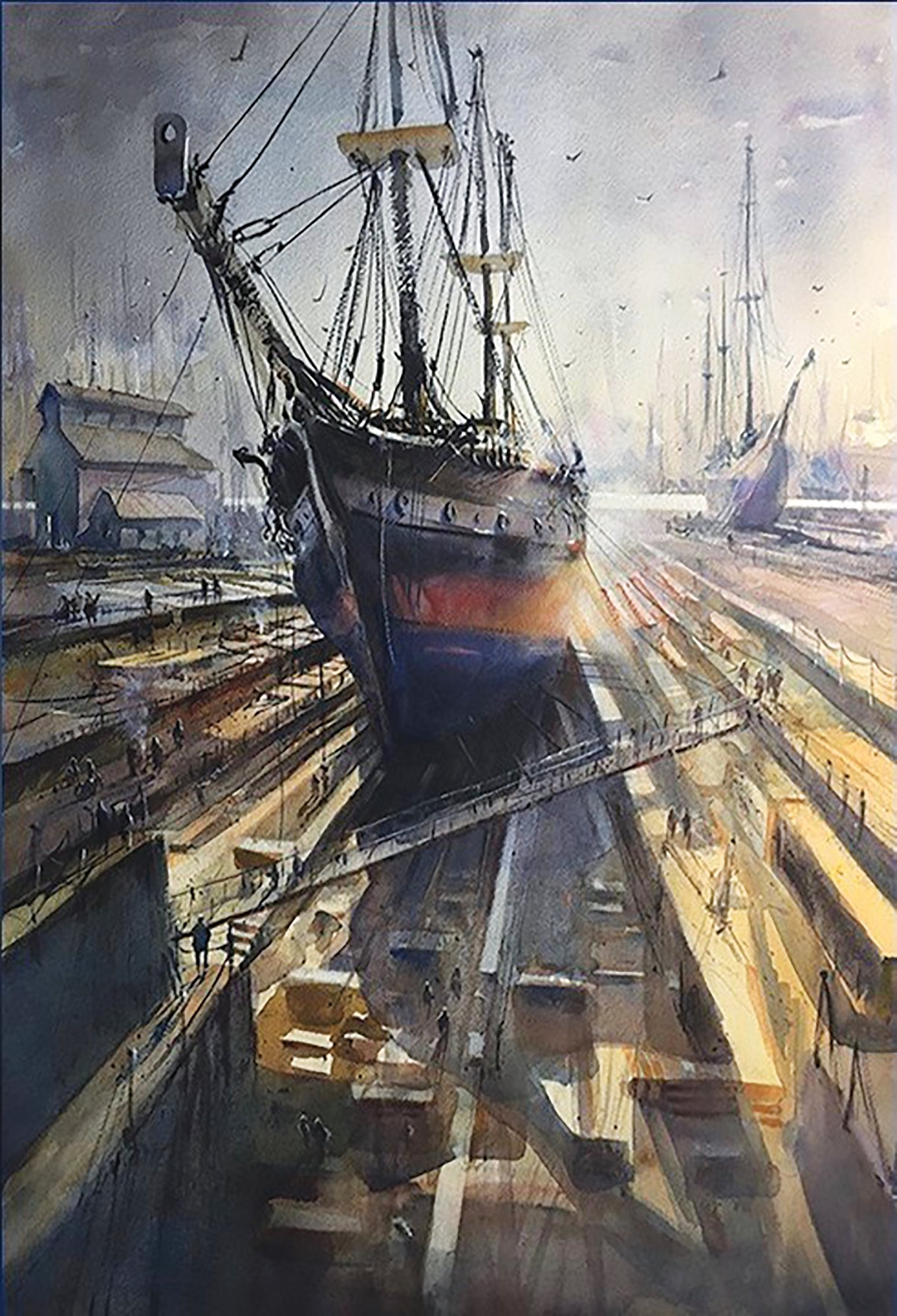 """Towing The Line"" by Russell Jewell is the second-place winner in the S.C. Watermedia Society Traveling Exhibition."