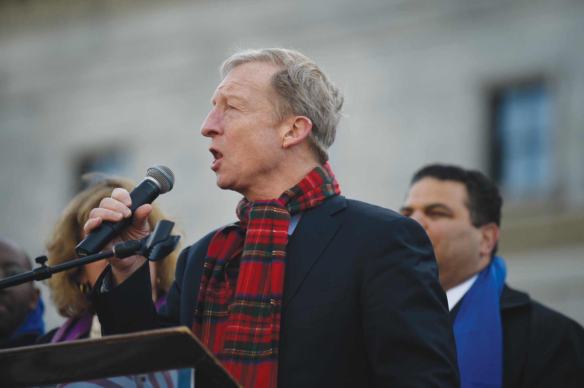 THE ASSOCIATED PRESSDemocratic presidential hopeful Tom Steyer speaks at a Dr. Martin Luther King Jr. Day rally on Monday, Jan. 20, 2020, in Columbia.
