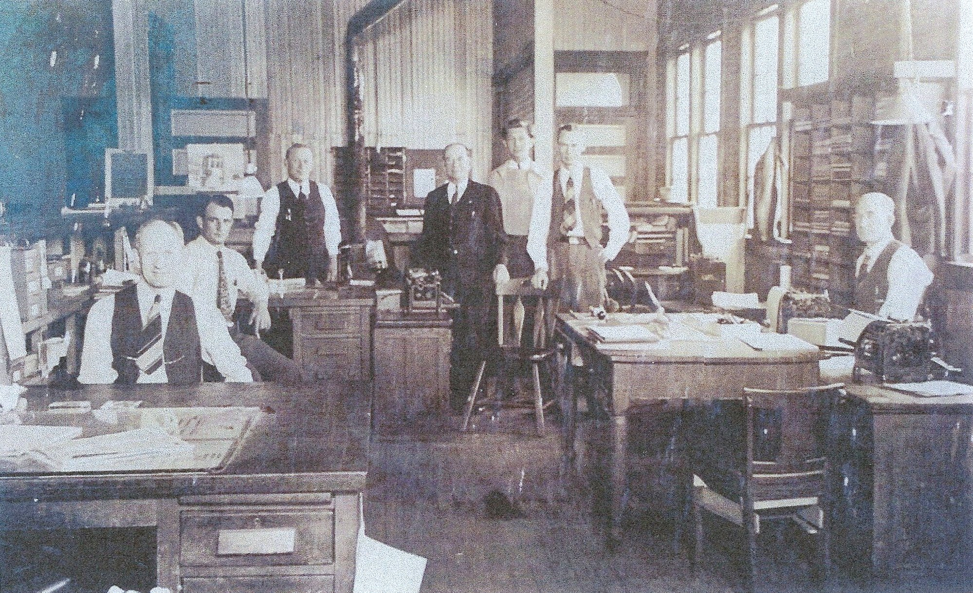 Atlantic Coast Line Railroad Company rail office agents are seen in the office in Sumter.