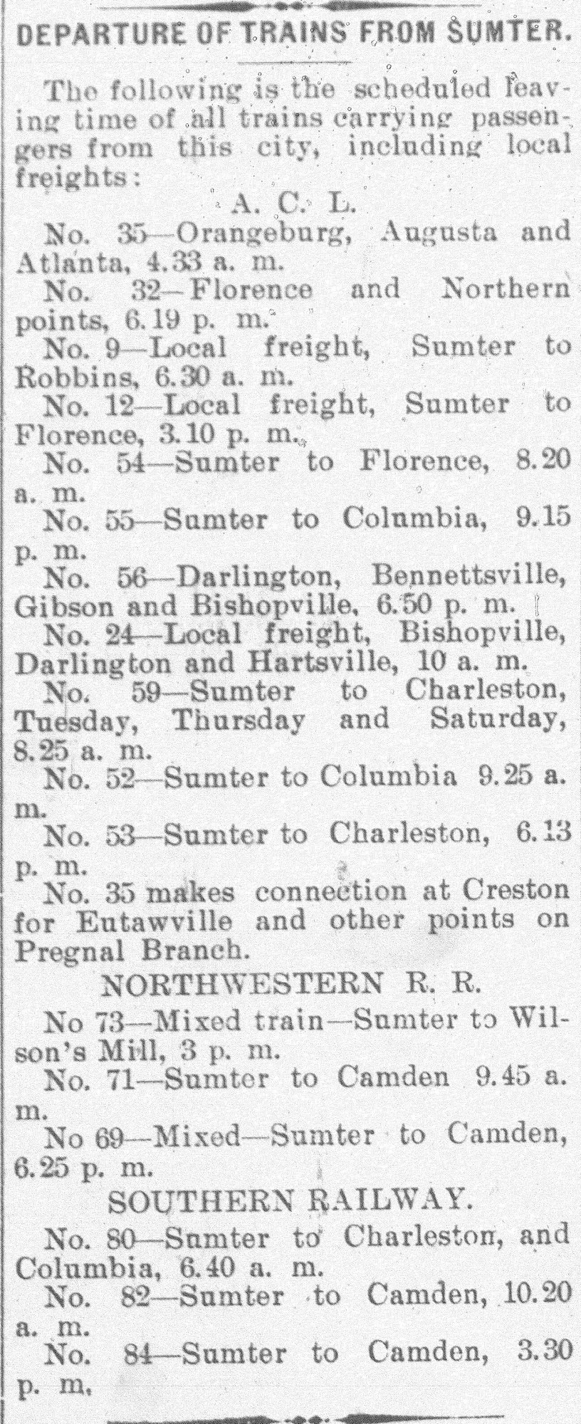 This 1902 ad shows the train schedule for April 2 that year.