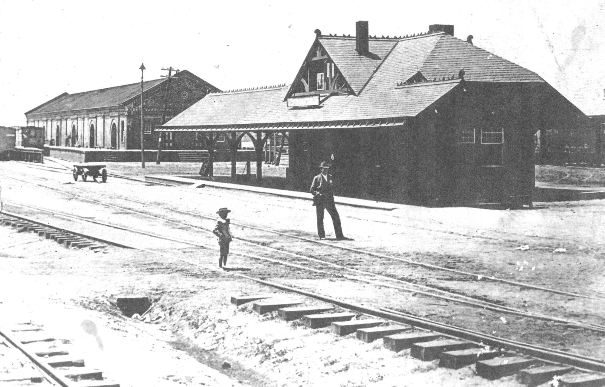 The ACL station and freight warehouse are seen. Sumter railroads were strategically located between Key West and New York, reducing freight rates and resulting in quicker schedules.
