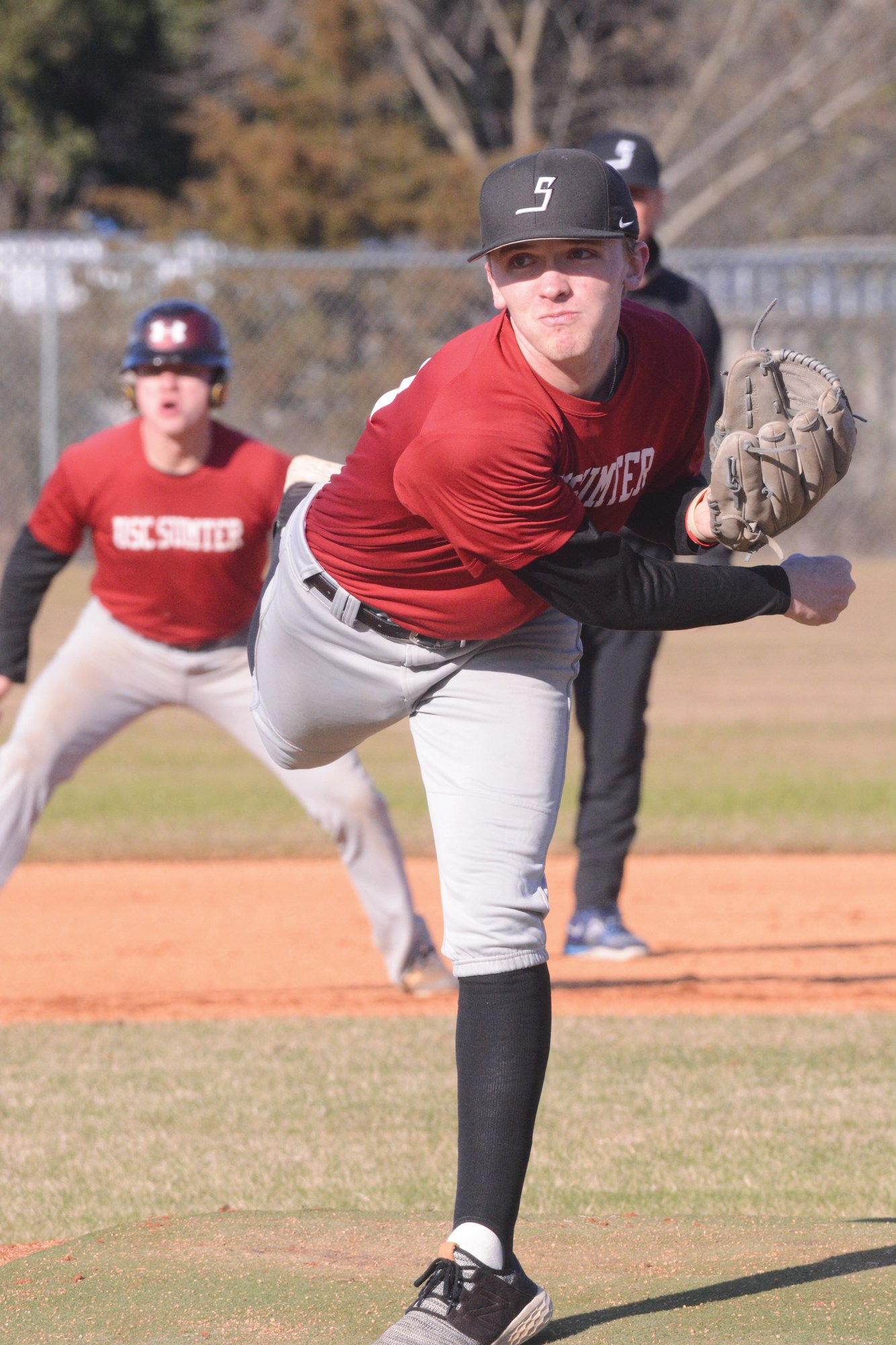 USC Sumter pitcher Austin Pearce fires a pitch during practice on Thursday. Pearce comes into the 2020 season as the Fire Ants' ace and will start their season opener on Saturday.