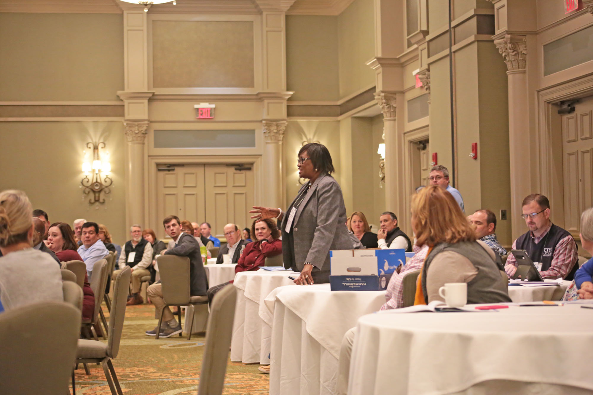 Sumter County Councilwoman Vivian Fleming-McGhaney speaks on Saturday during a panel discussion at the Marina Inn at Grande Dunes in Myrtle Beach during the Greater Sumter Chamber of Commerce annual retreat.