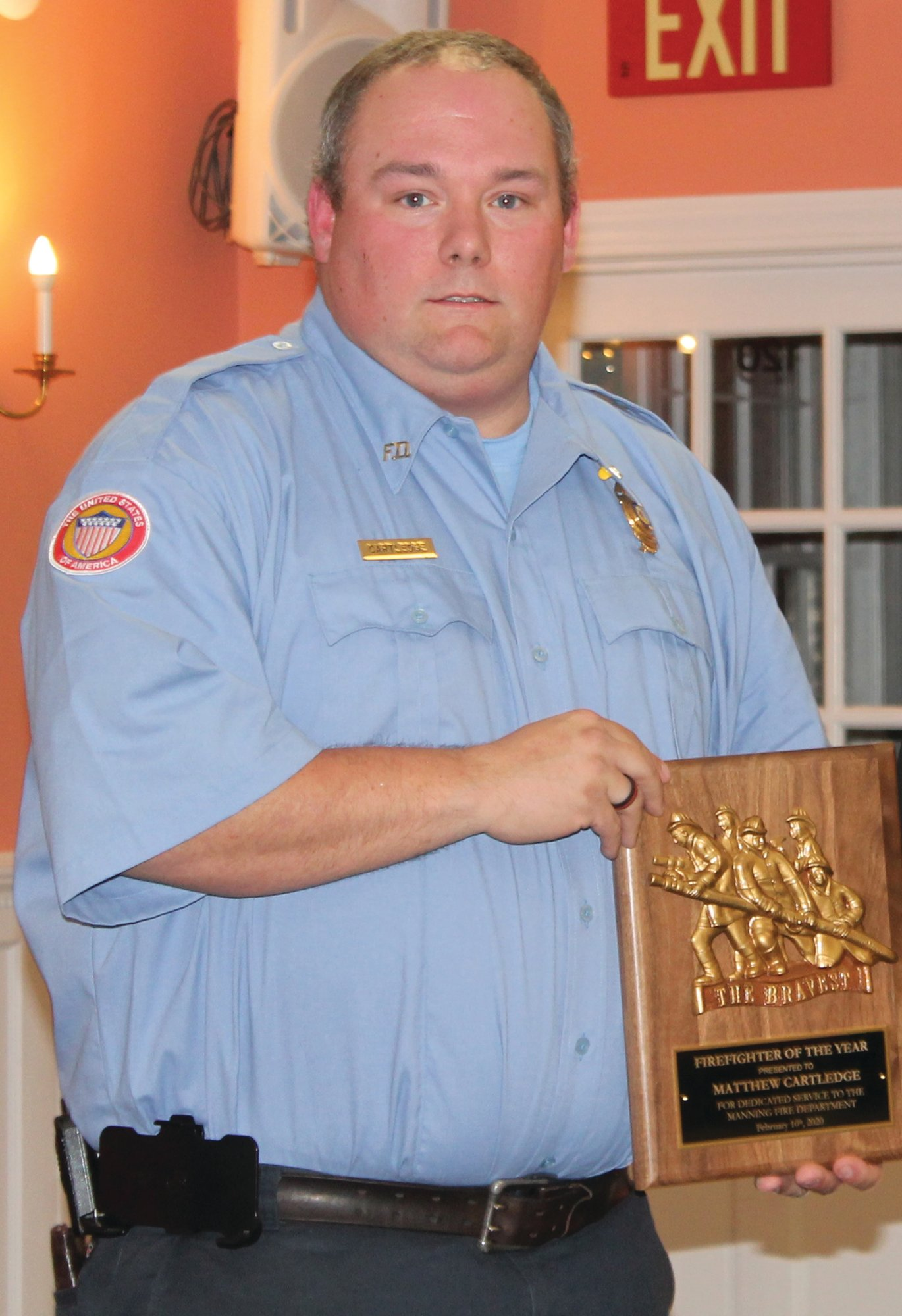 Firefighter Mathew Cartledge with the Manning Fire Department has only been with the department a few years; however, during that time he has earned the respect of his peers who voted him the Firefighter of the Year.