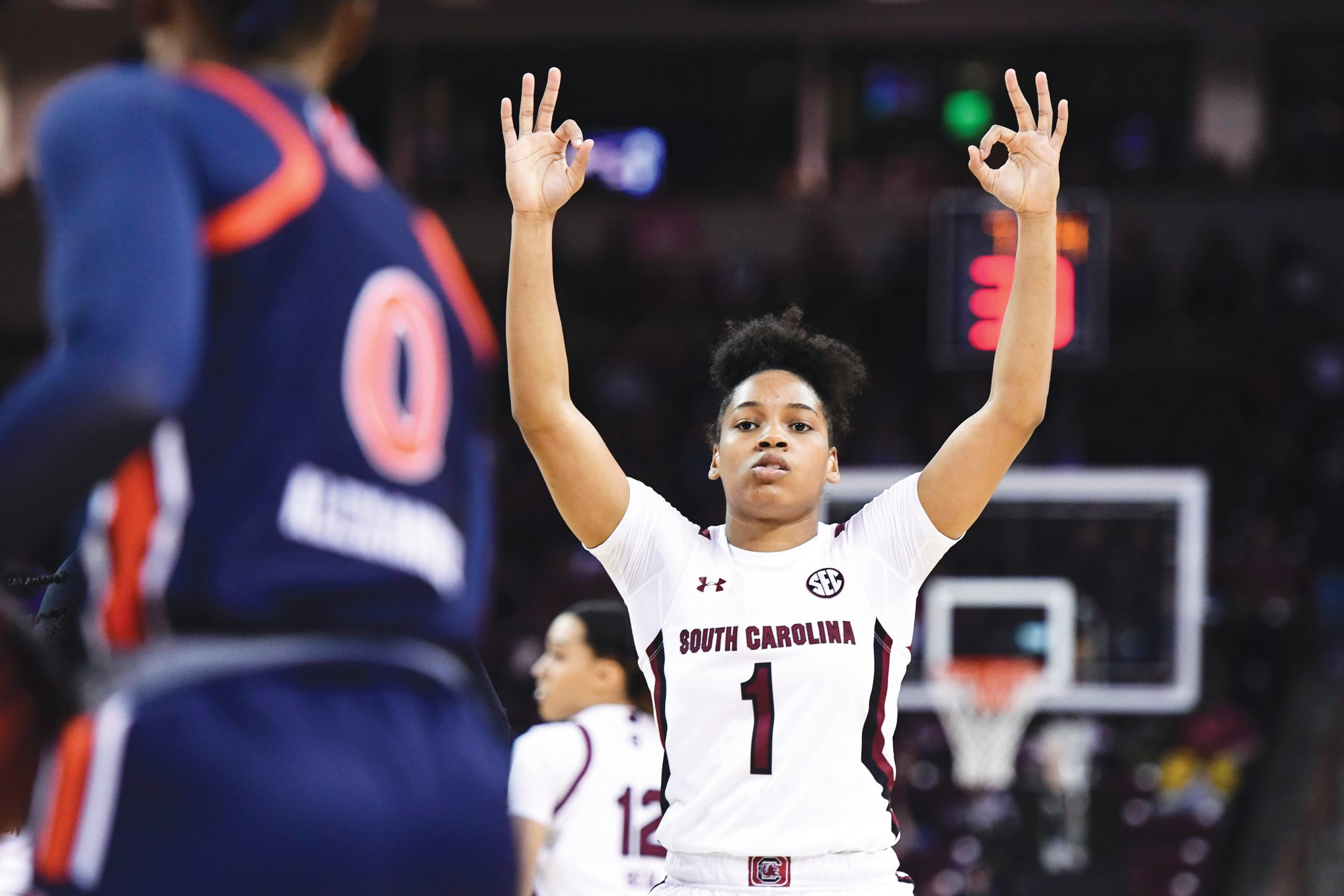 South Carolina guard Zia Cooke (1) celebrates a three-point basket against Auburn during the first half of an NCAA college basketball game Thursday, Feb. 13, 2020, in Columbia, S.C.