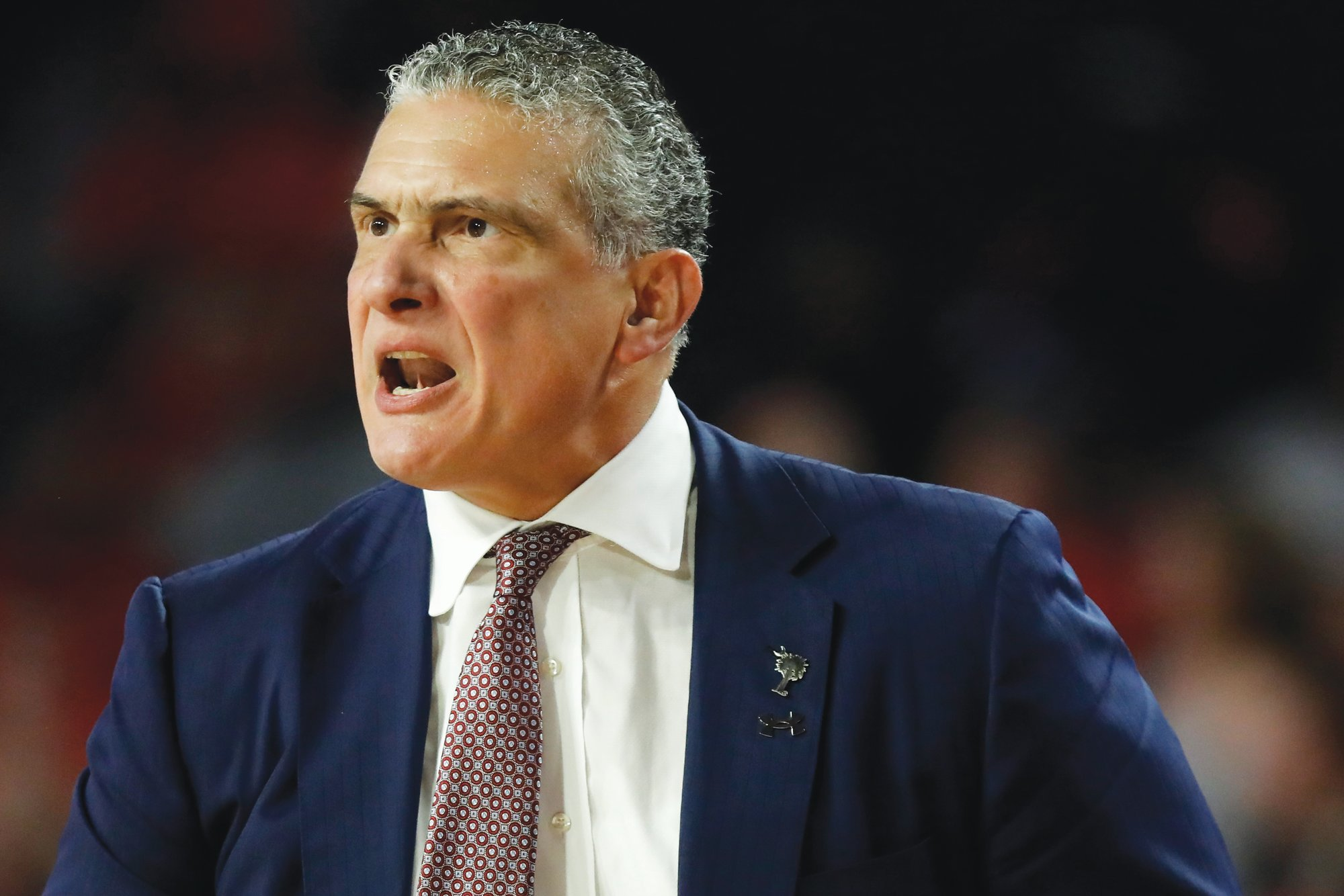 South Carolina coach Frank Martin reacts during the team's NCAA college basketball game against Georgia on Wednesday, Feb. 12, 2020, in Athens, Ga.