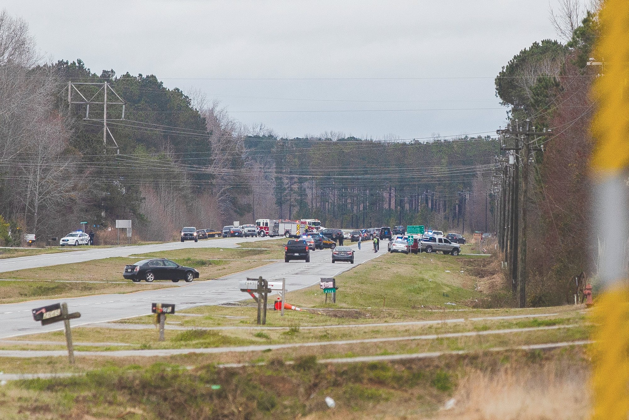 A massive law enforcement presence is seen on U.S. 521 Tuesday morning.