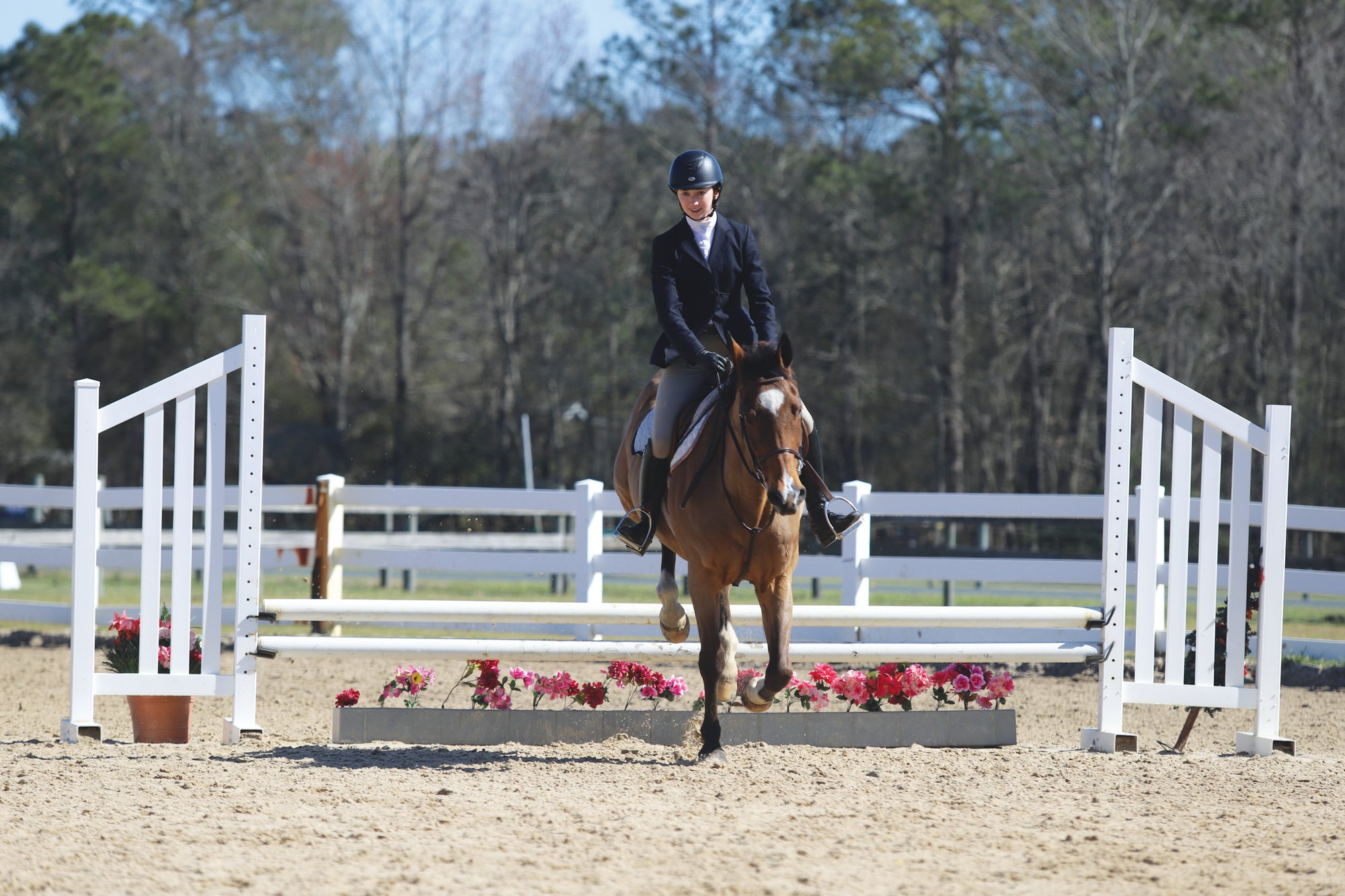 Wilson Hall's Kaitlyn Smith competes in the SCISA Hunt Seat Equestrian Winter Regular Season Qualifying Competition on Saturday in Timmonsville. Smith took home a pair of first-place finishes on the day.