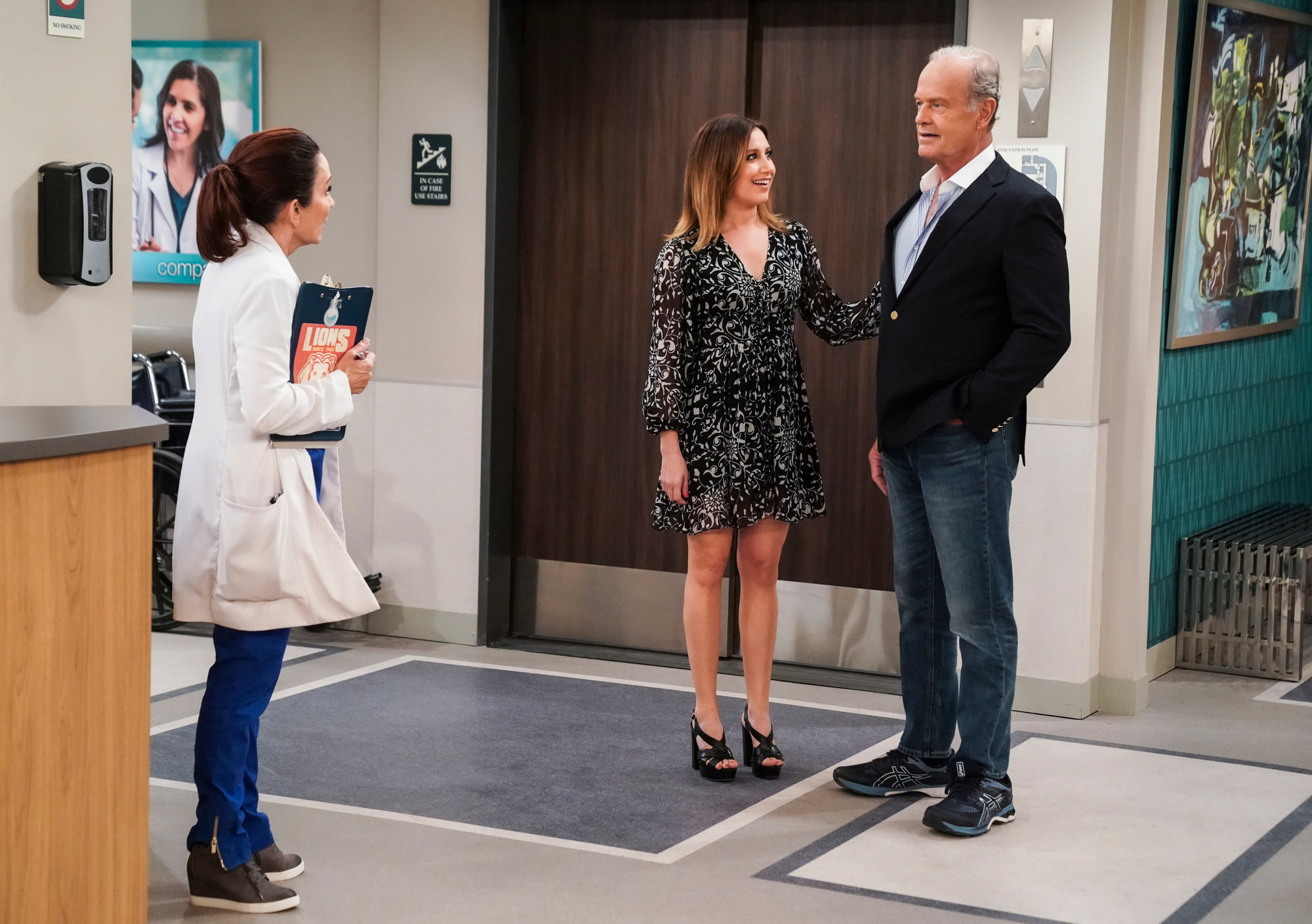 "From left, Patricia Heaton stars as Carol, Ashley Tisdale as Jenny and guest star Kelsey Grammer as Richard in the ""R.I.P. Dr. Herman"" season finale of ""Carol's Second Act,"" airing at 9:30 p.m. today on CBS."