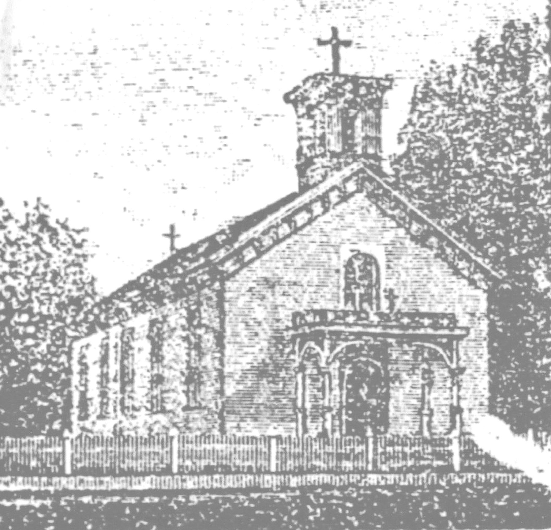 This is how St. Lawrence Catholic Church looked, from an old woodcut, about 1889. It was the second Catholic church in Sumter County. It was dedicated in 1849.